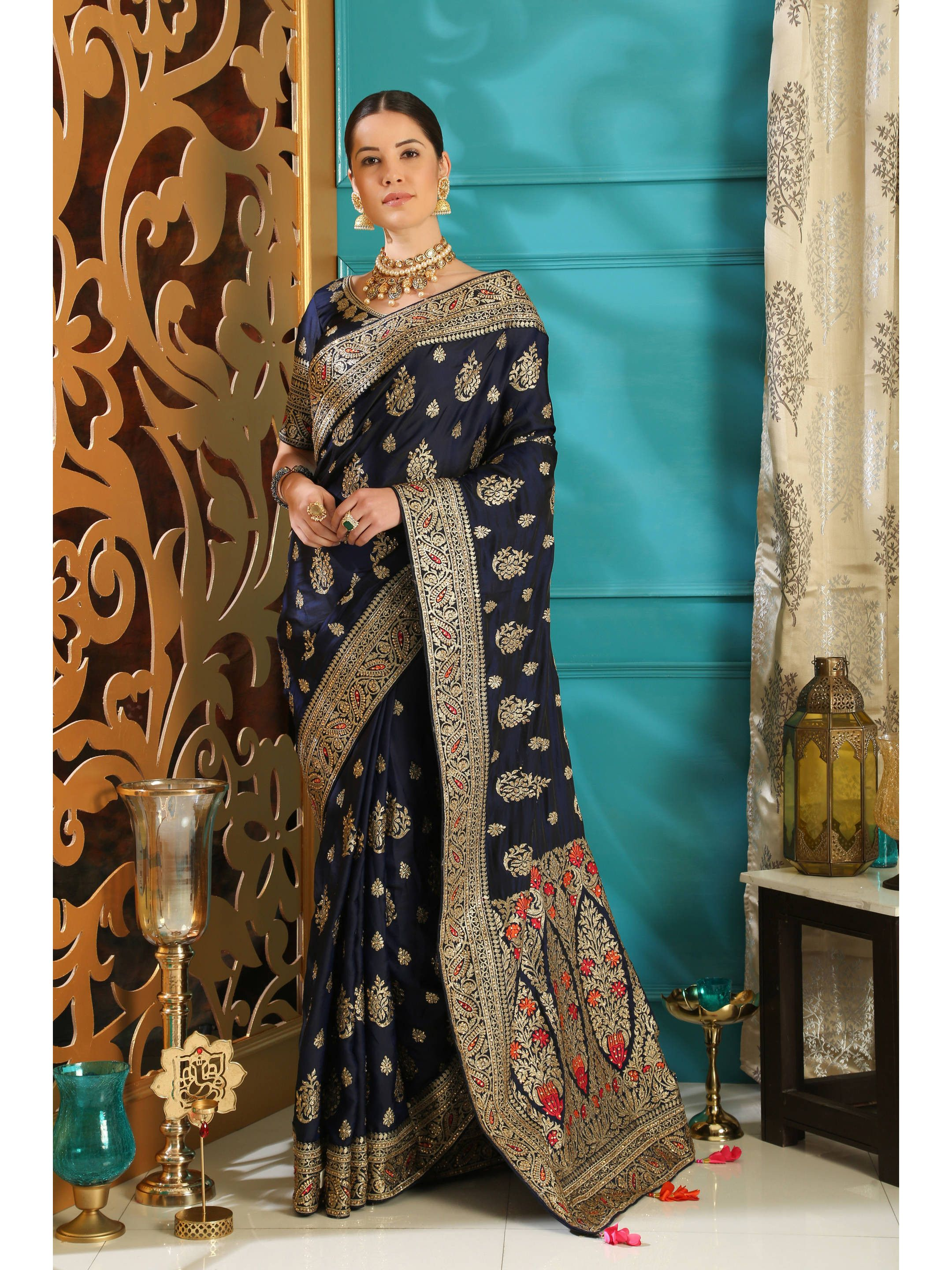 Navy Blue Silk Embroidered Saree With Blouse