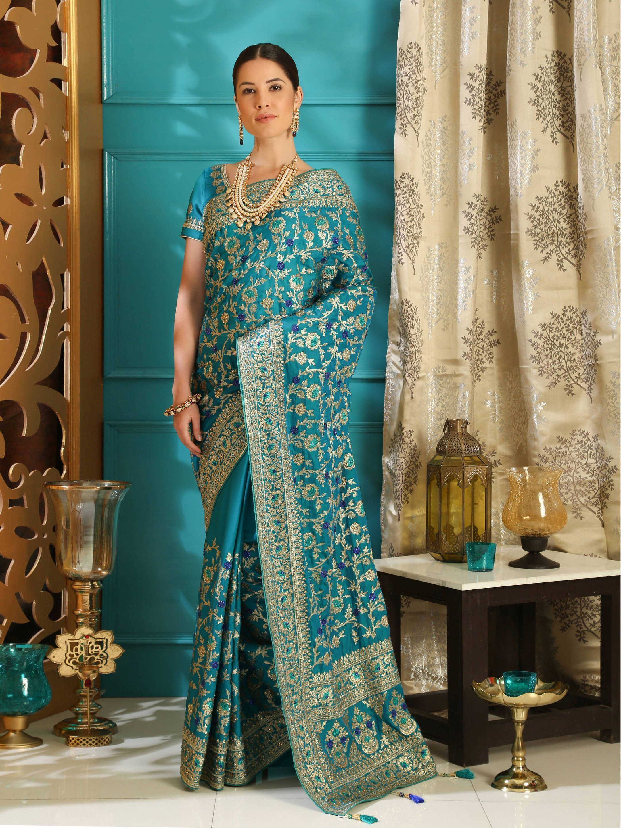 Teal Blue Embroidered Silk Wedding Saree With Blouse