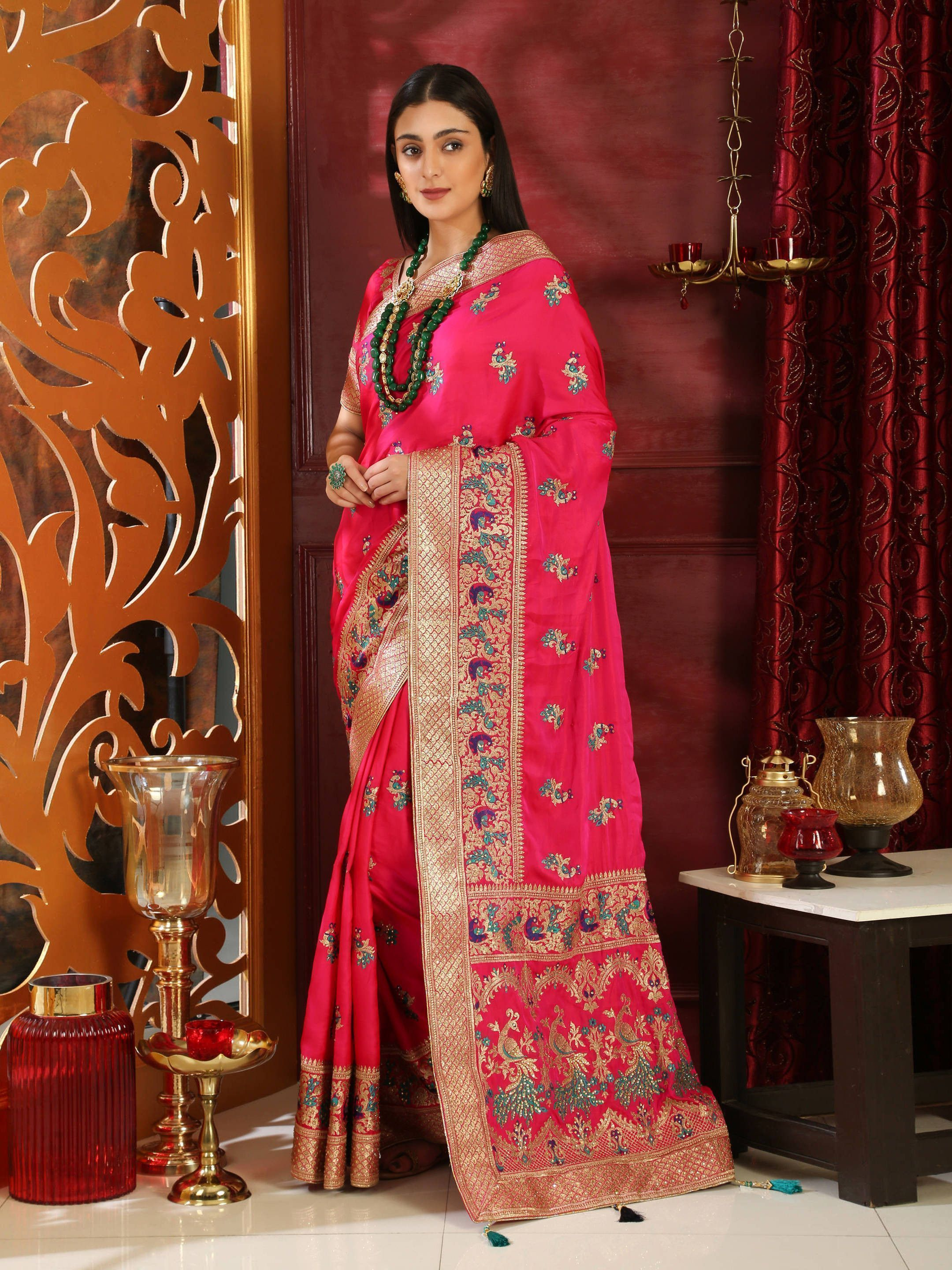 Pink Embroidered Silk Bridal Saree With Blouse