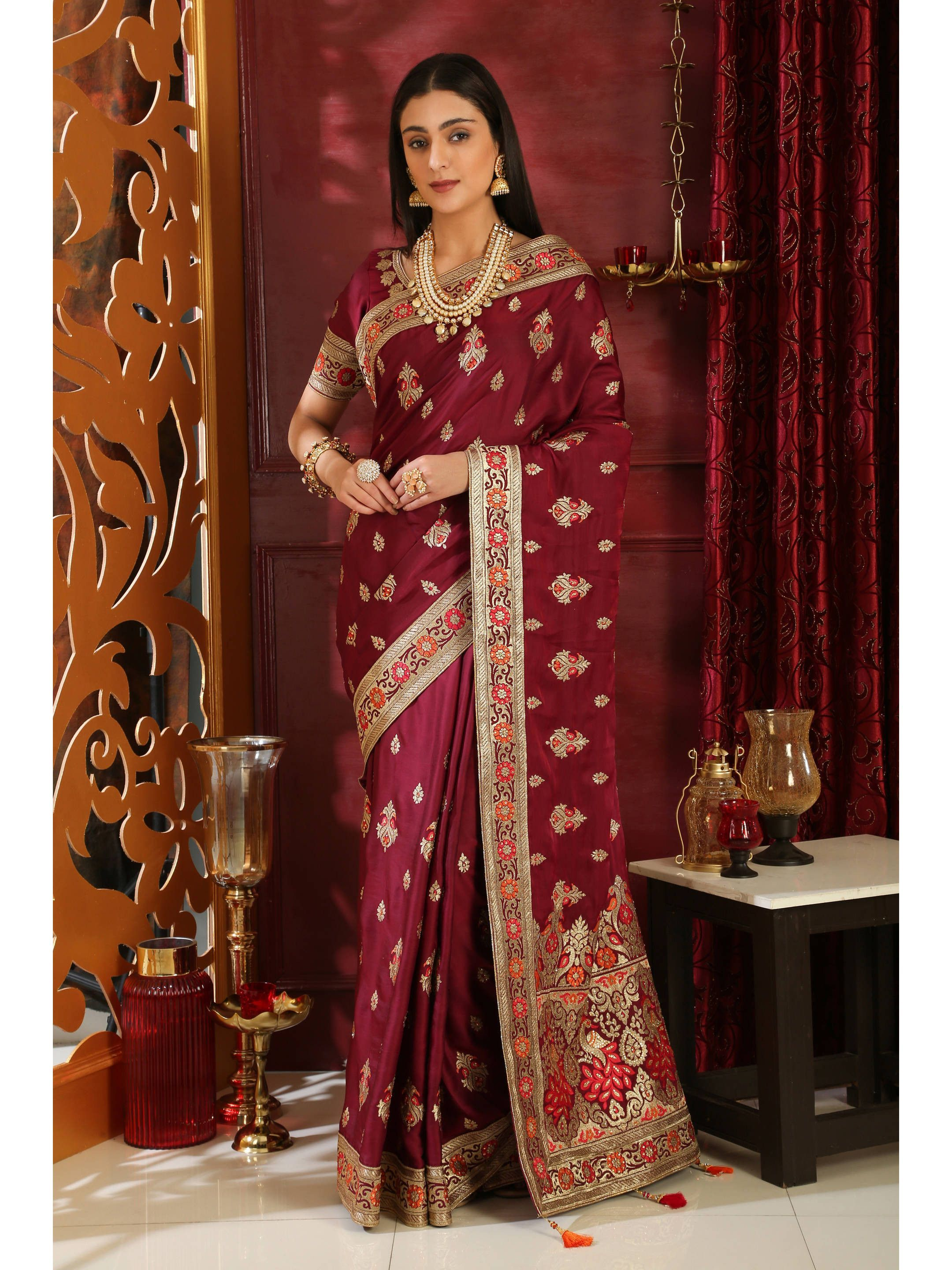 Maroon Silk Embroidered Saree With Blouse (Default)