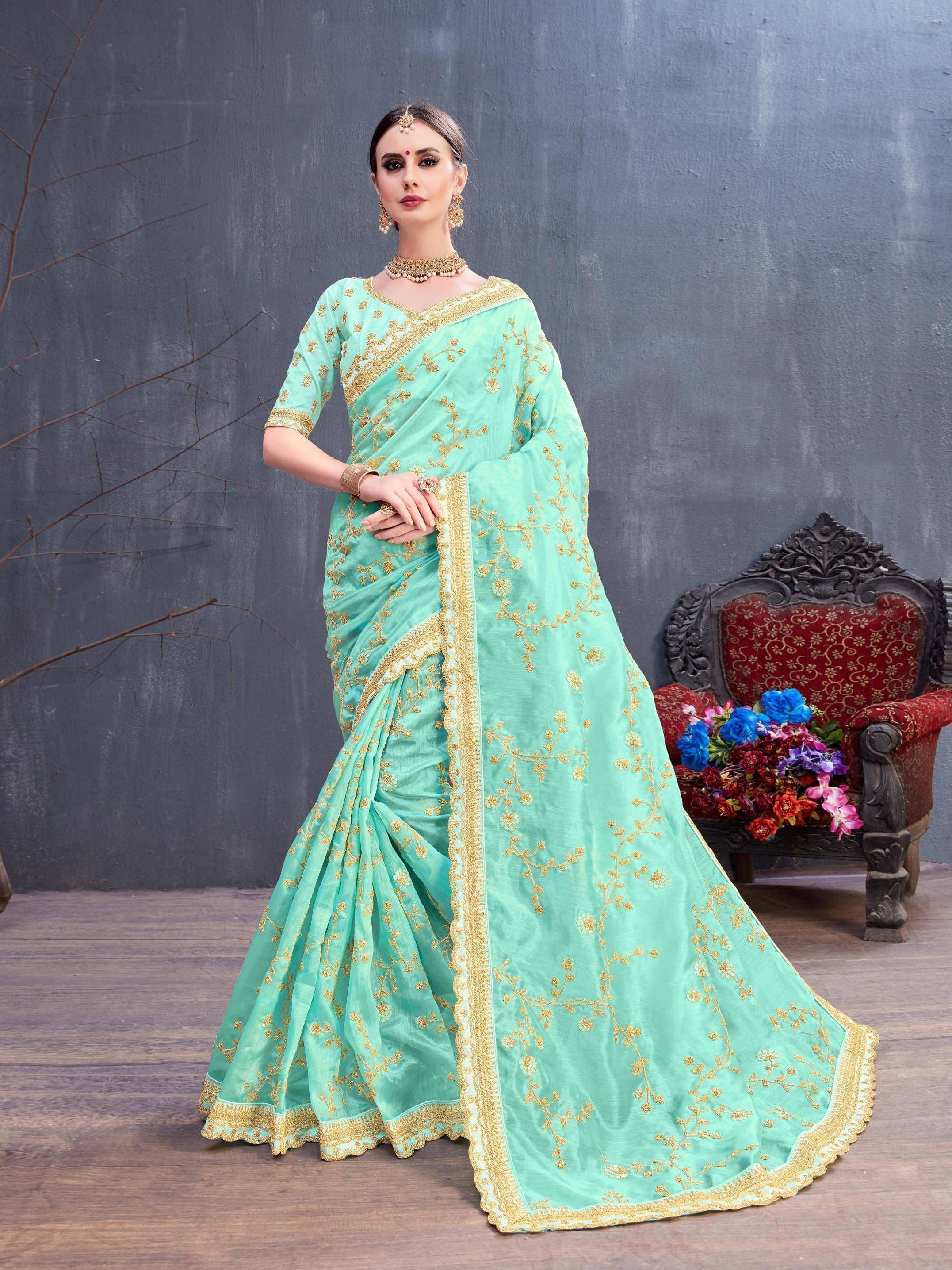 Turquoise Embroidered Organza Silk Partywear Saree