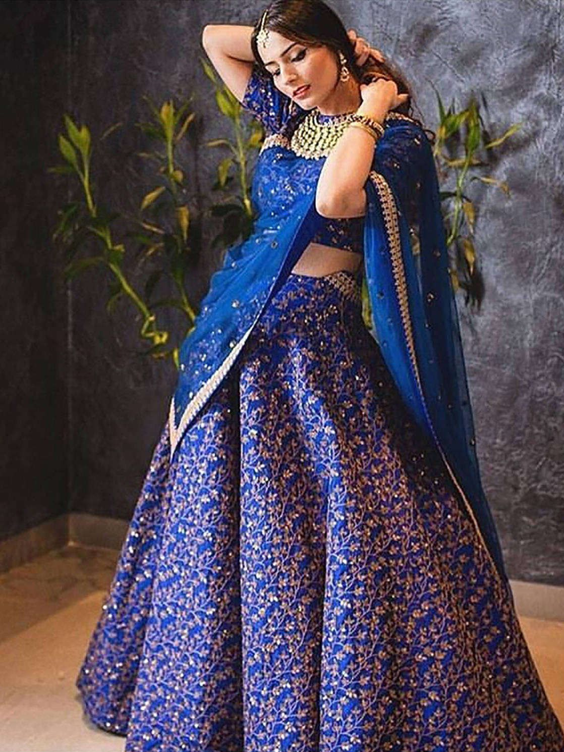 Blue Zari Embroidered Silk Bridal Lehenga Choli (Default)