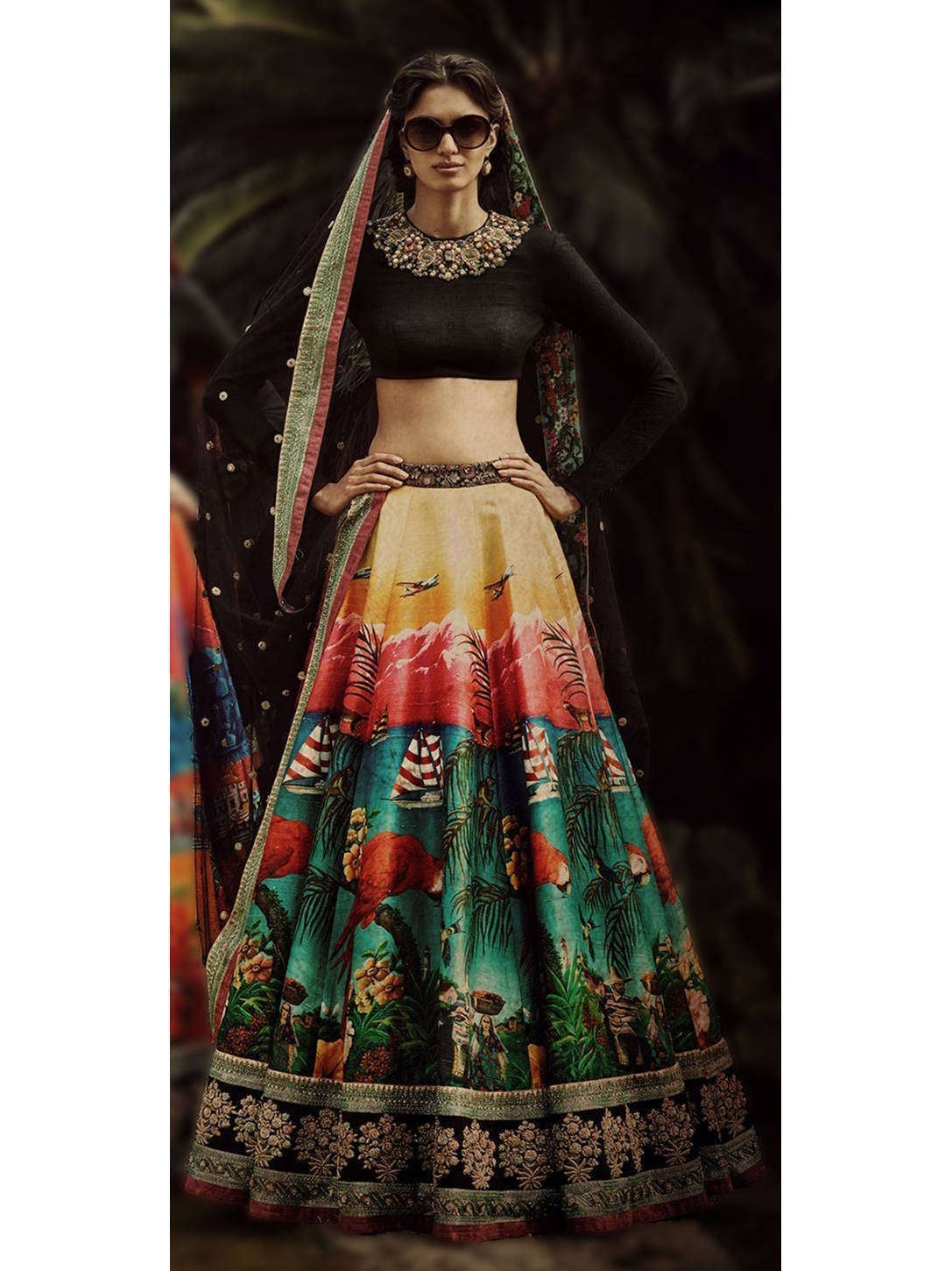 The Fiji Style Valvet Blouse With Digital Print Lehenga