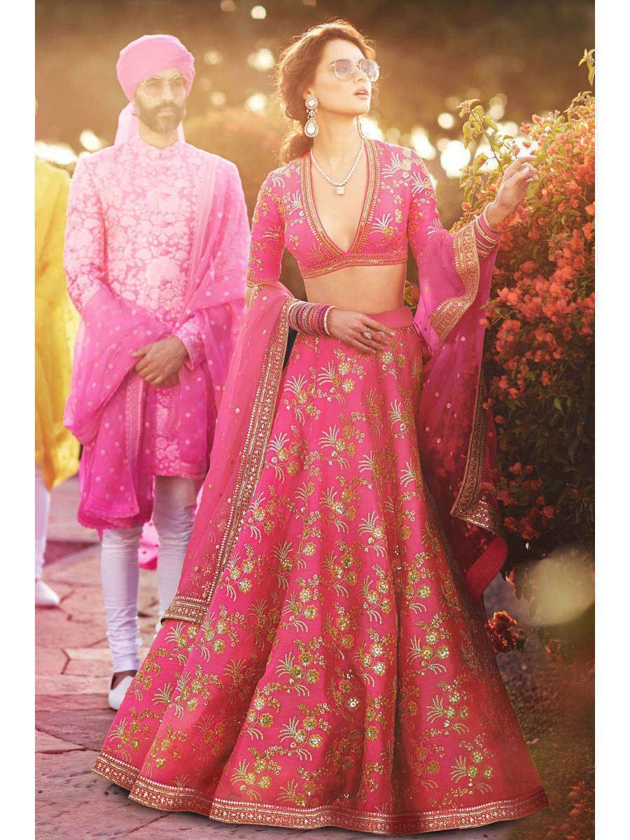 Pink Embroidery Thai Silk Bridal Lehenga Choli (Default)