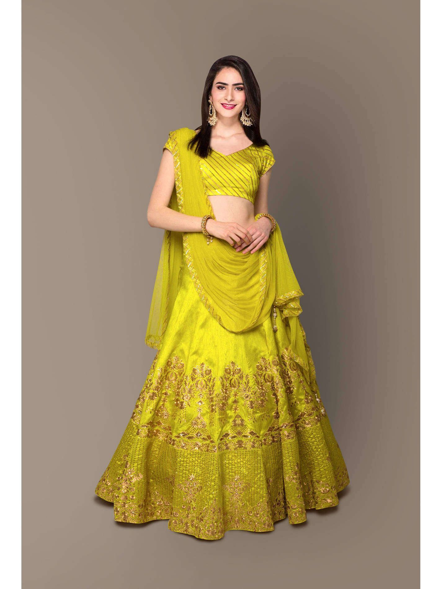 Neon Embroidery Silk Party Wear Lehenga Choli (Default)