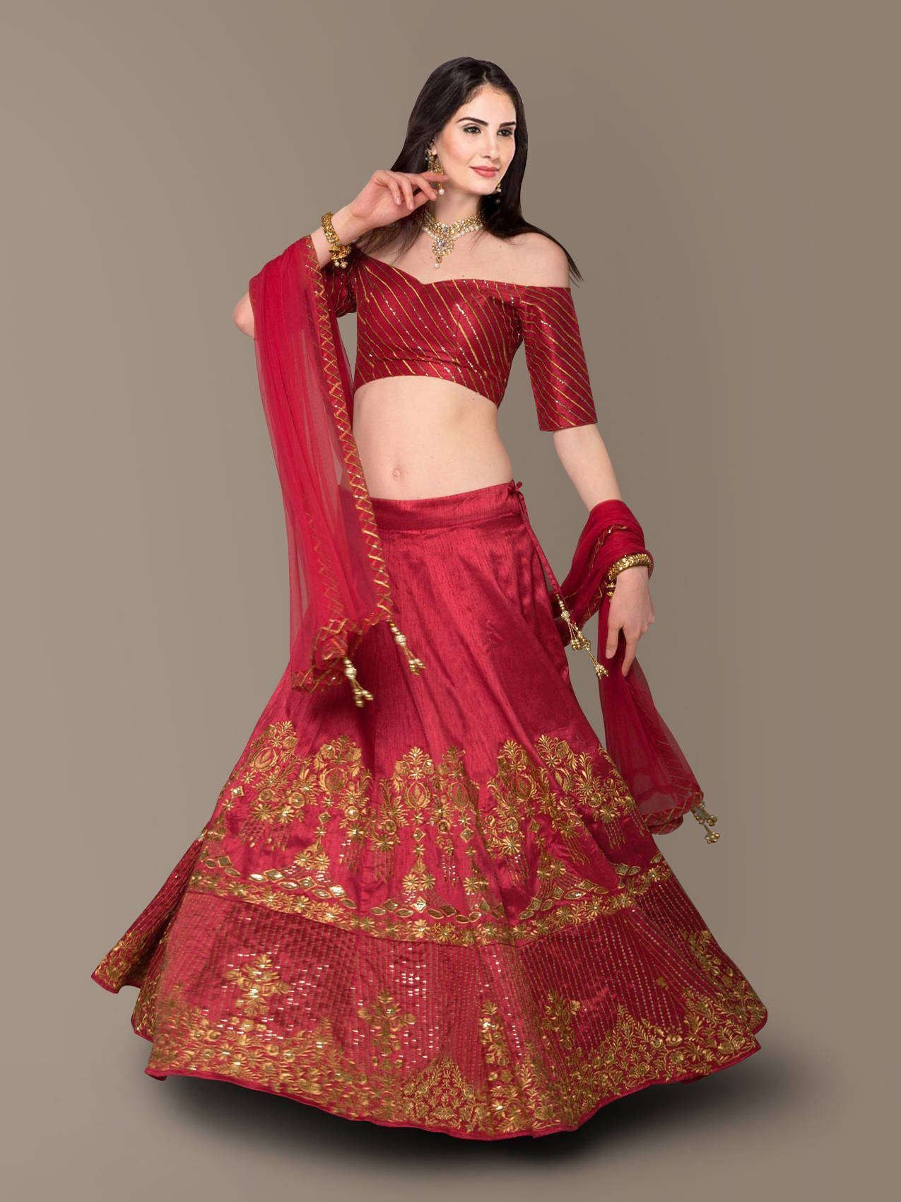 Red Embroidery Silk Party Wear Lehenga Choli (Default)