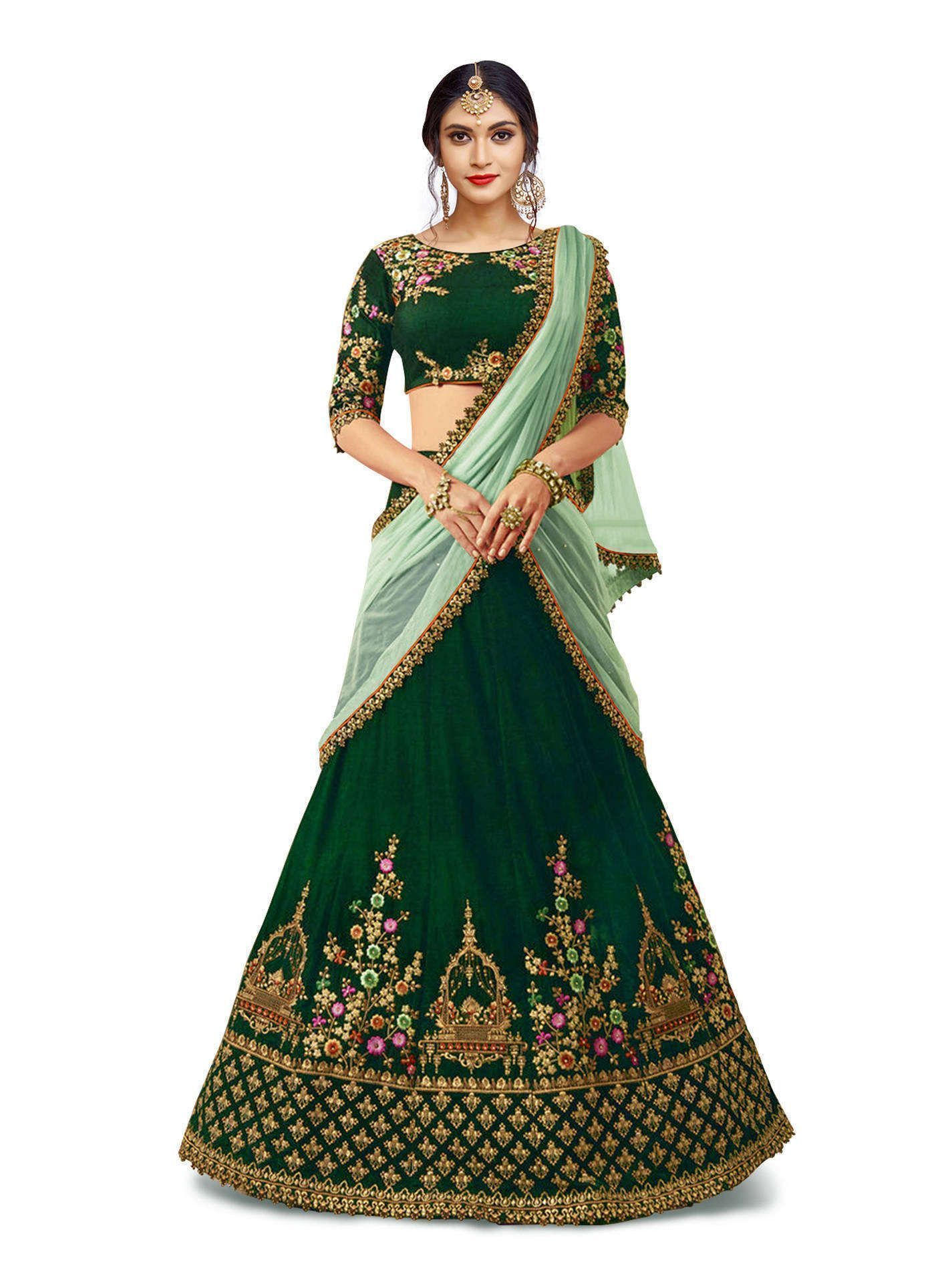 Awesome Mesmeric Dark Green Colored Lehenga Choli