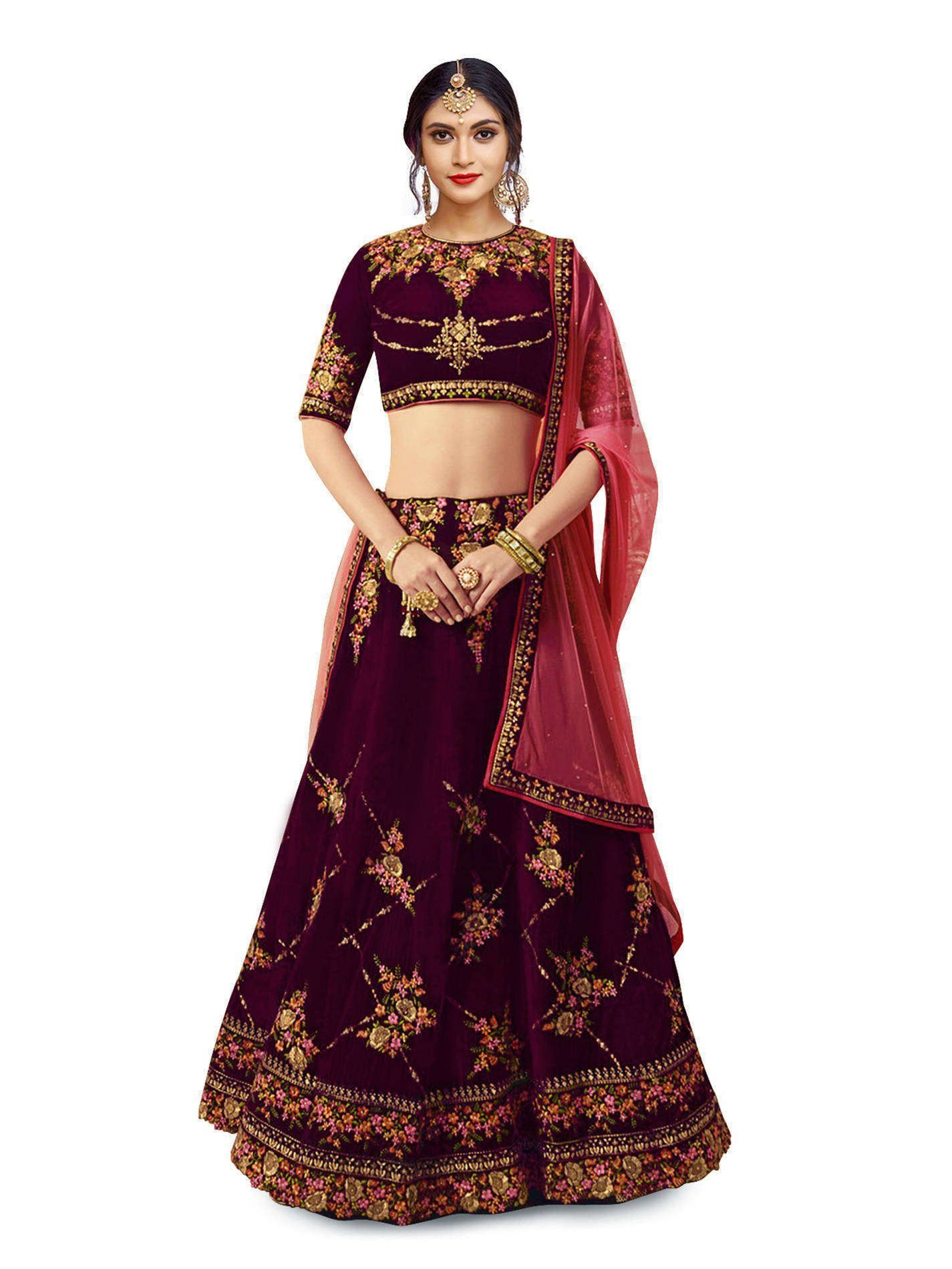 Awesome Mesmeric Purple Colored Lehenga Choli