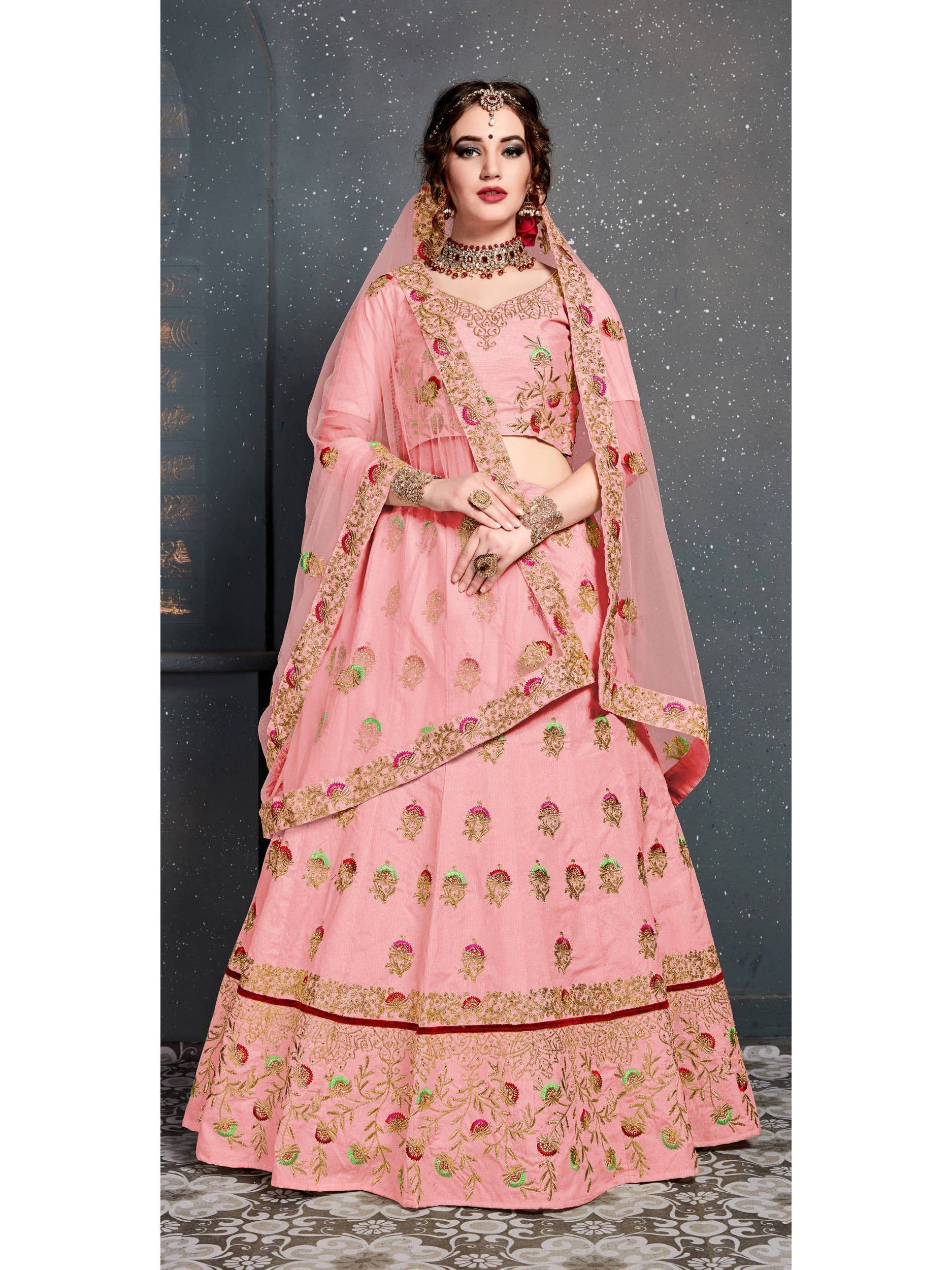 Baby Pink Embroidered Silk Bridal Lehenga Choli (Default)