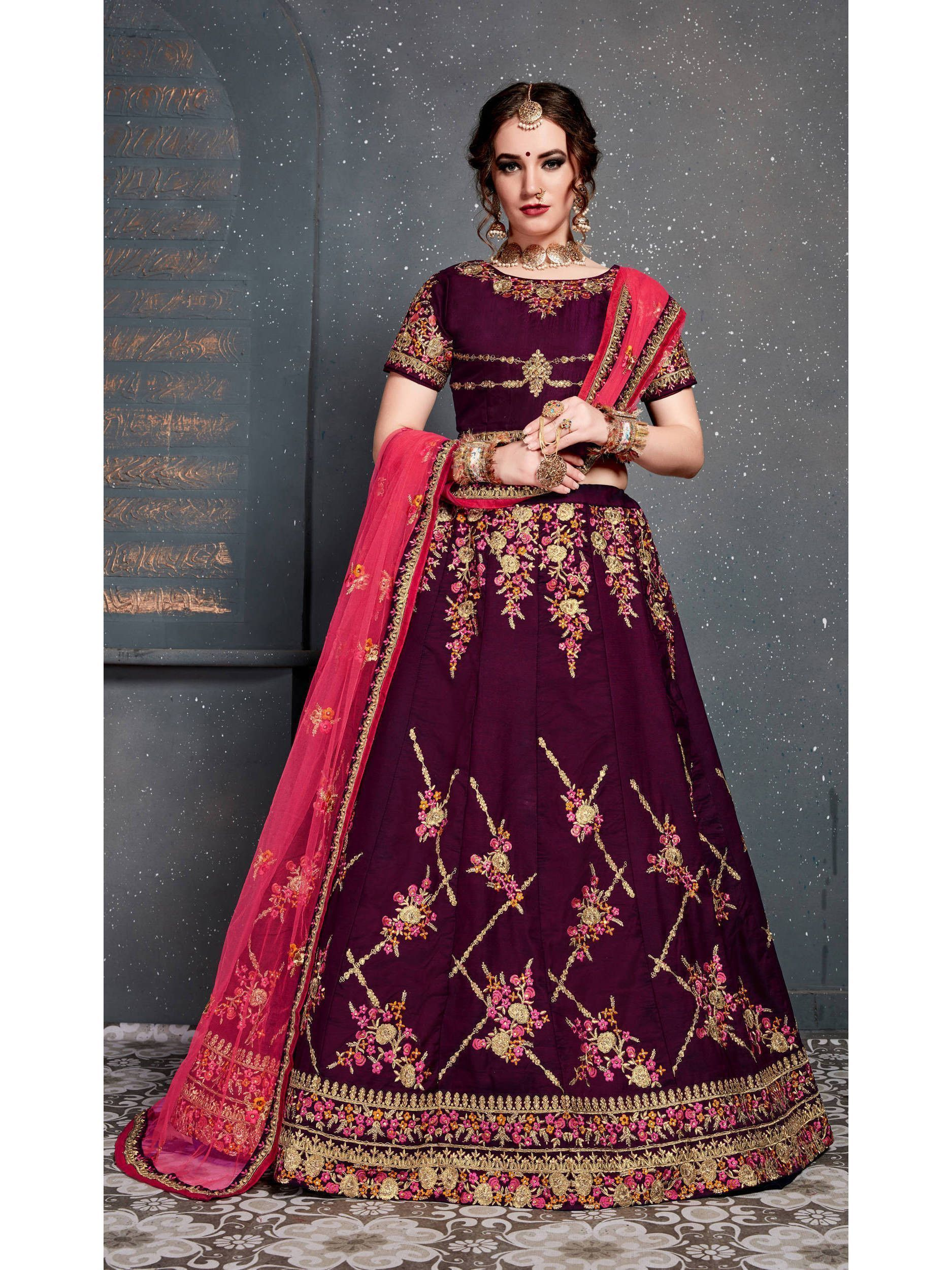 Purple Embroidered Taffeta Silk Bridal Lehenga Choli