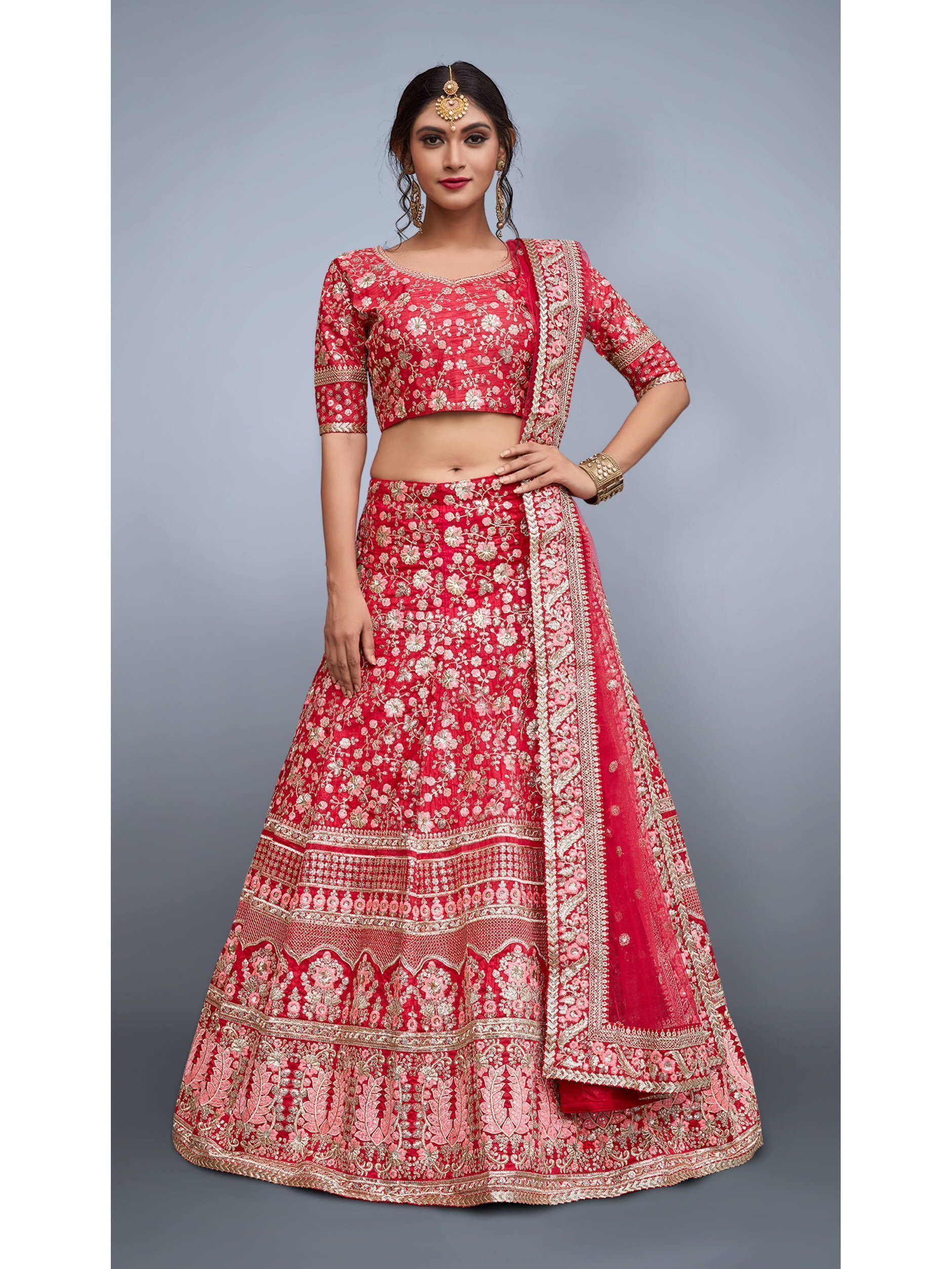 Red Heavily Embroidered Bridal Art Silk Lehenga Choli (Default)