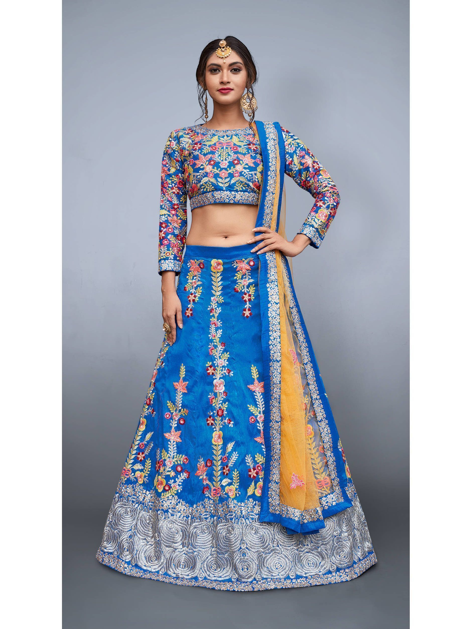 Sky Blue Art Silk Embroidered Lehenga Choli