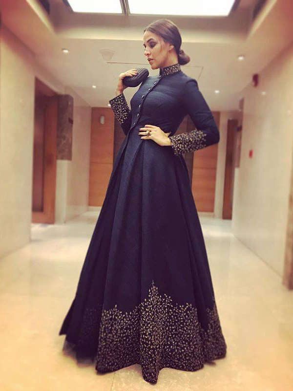 Neha Dhupia Navy Blue Embroidered Silk Party Wear Gown