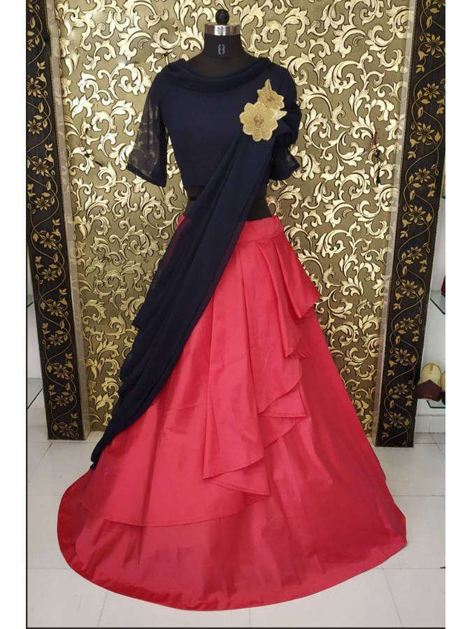 Coral Red Two Layers Taffeta Silk Lehenga Choli