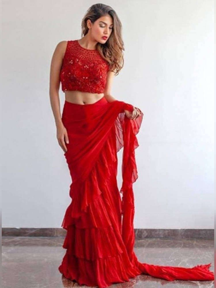 Red Georgette Designer Ruffle Saree