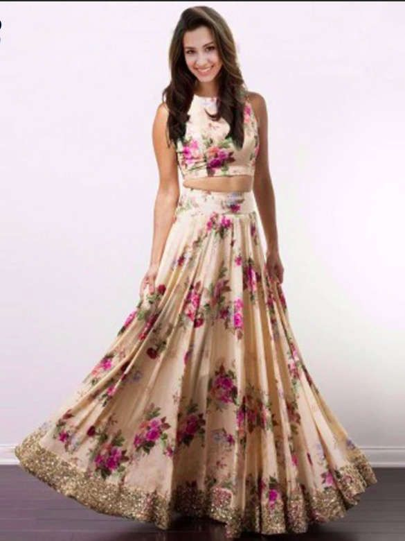 Peach Satin Floral Printed Crop Top Lehenga (Default)