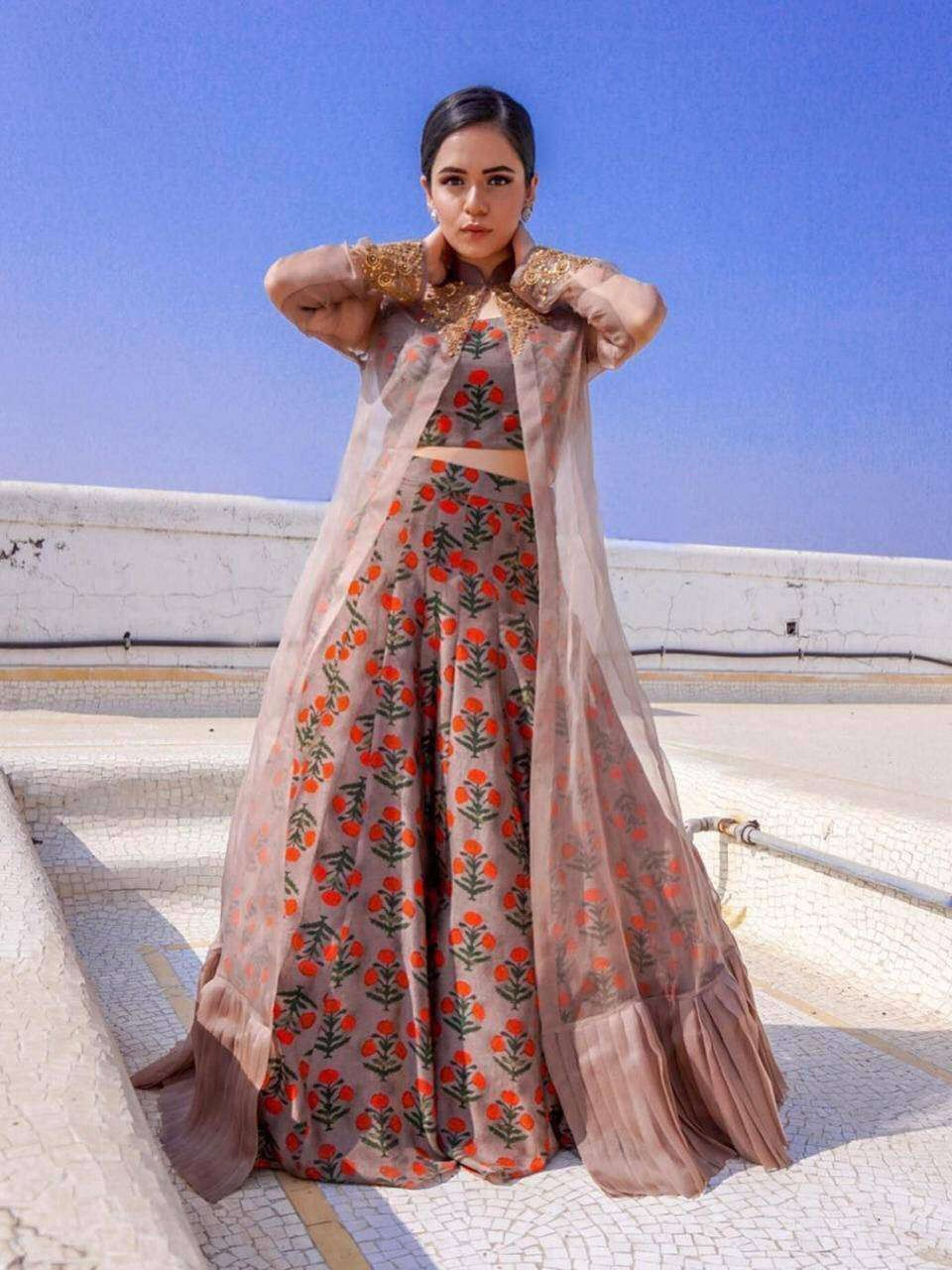 Brown Floral Printed Taffeta Silk Indo-Western Crop Top Lehenga