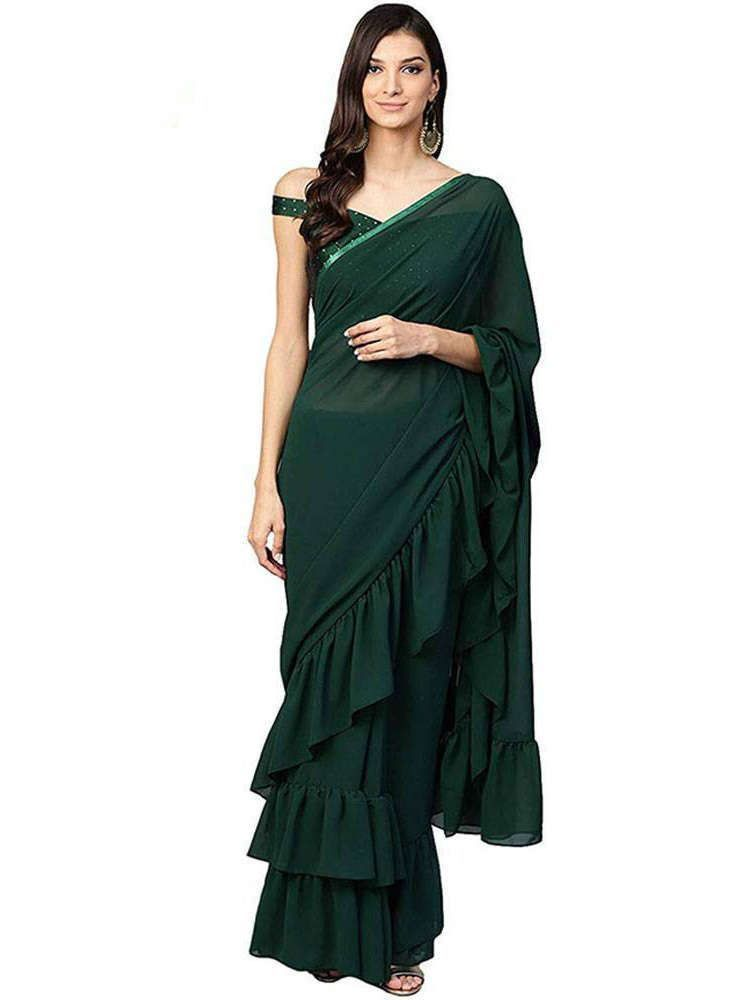 Bottle Green Georgette Ruffle Saree