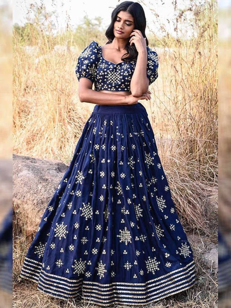 Navy Blue Embroidered Taffeta Silk Lehenga Choli