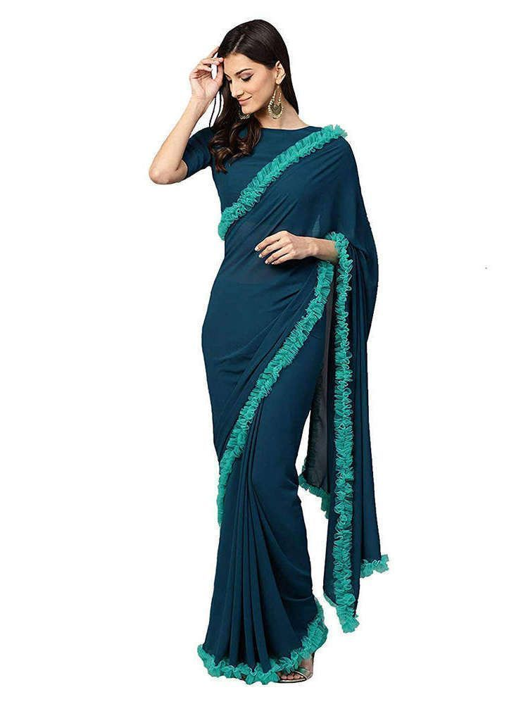 Teal Blue Designer Georgette Ruffle Lace Saree