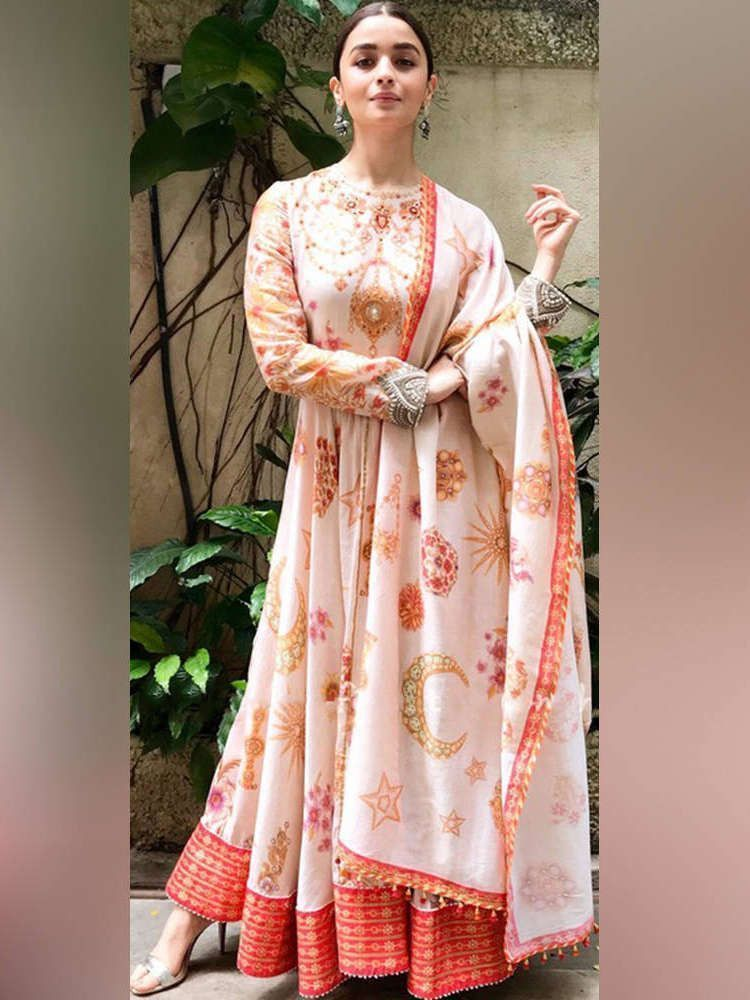 Alia Bhatt Peach Georgette Digital Printed Gown (Default)