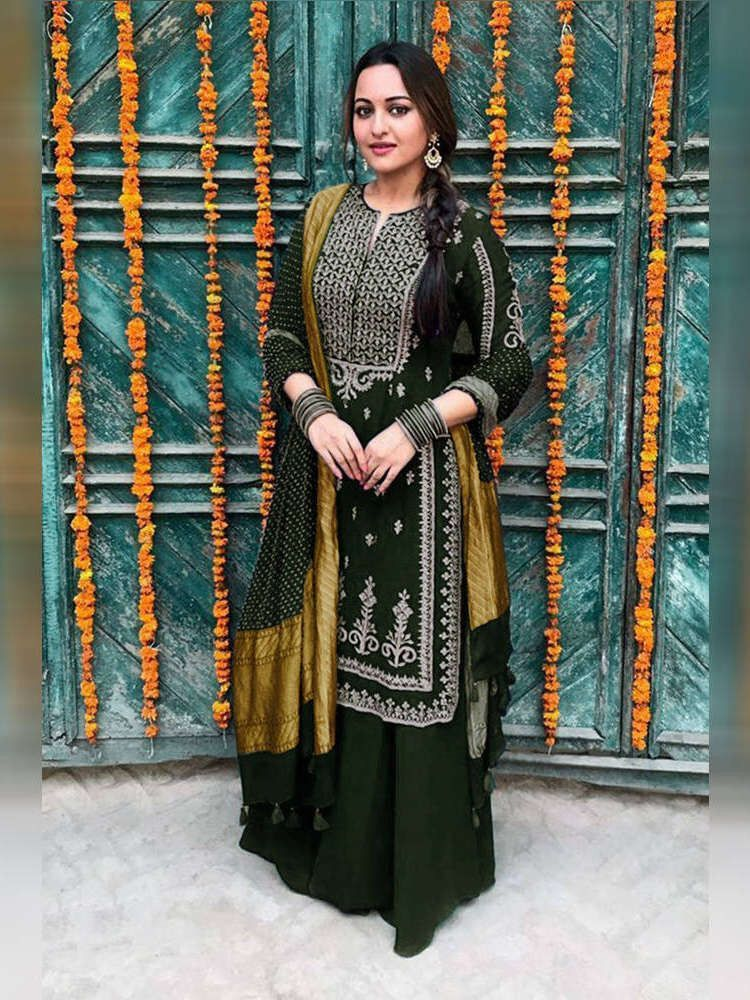 Bottle Green Georgette Embroidered Sharara Suit