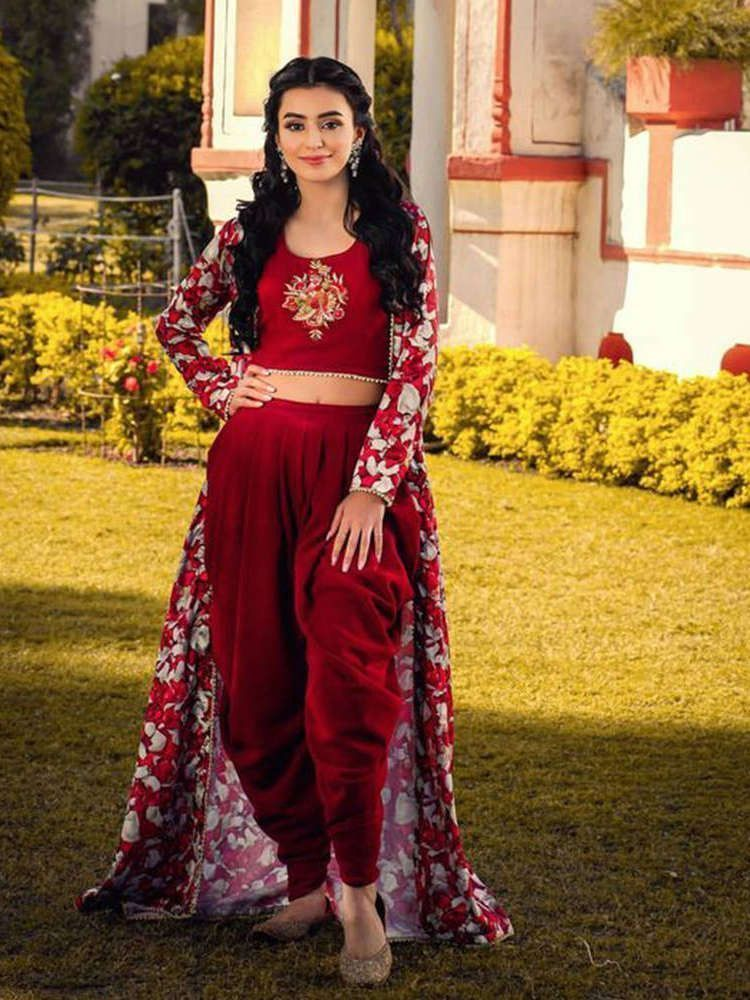 Ankita Sharma Maroon Embroidered rayon Indo-Western Patiyala Suit (Default)