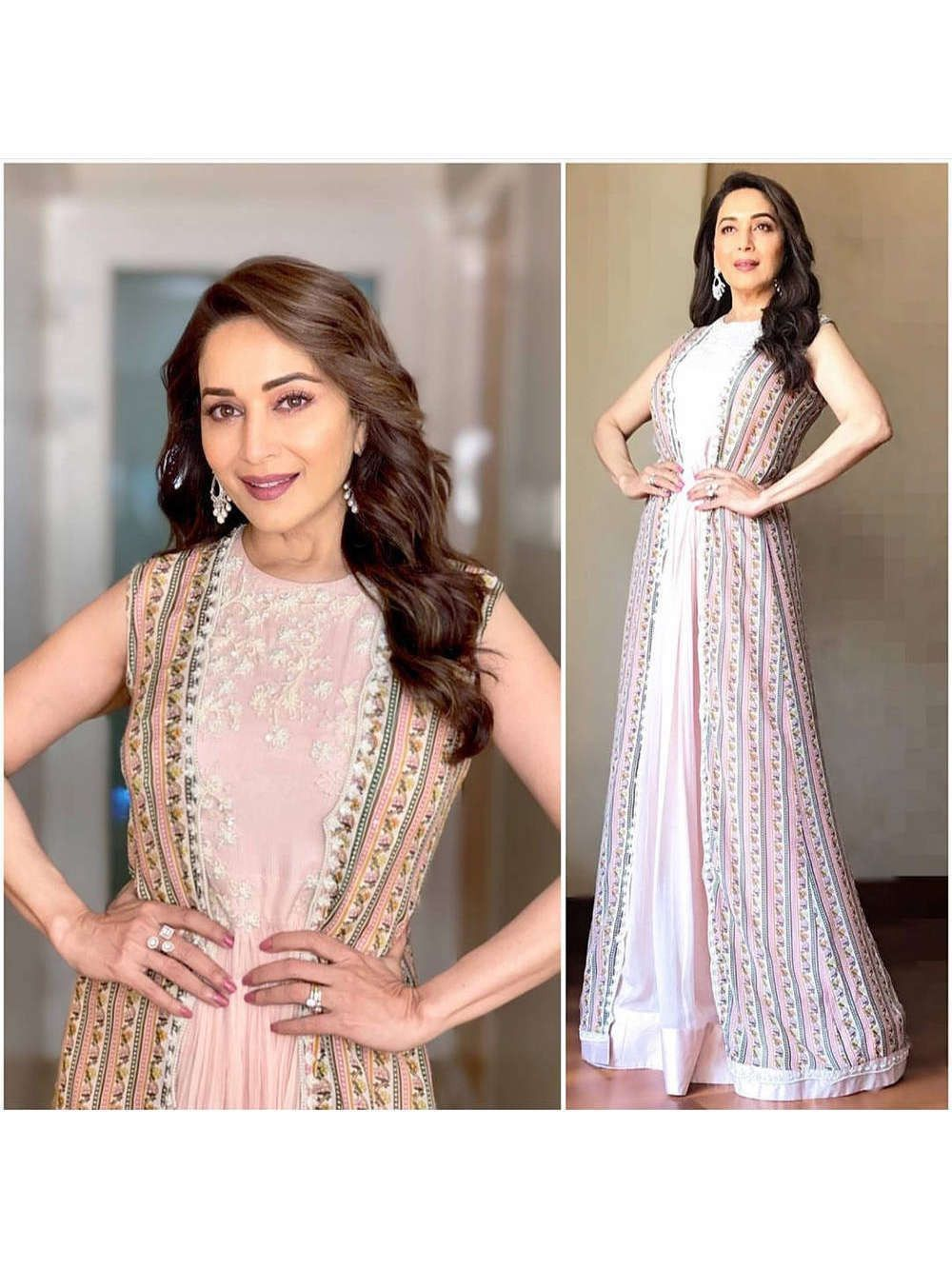 Madhuri Dixit Baby Pink Printed Georgette Gown