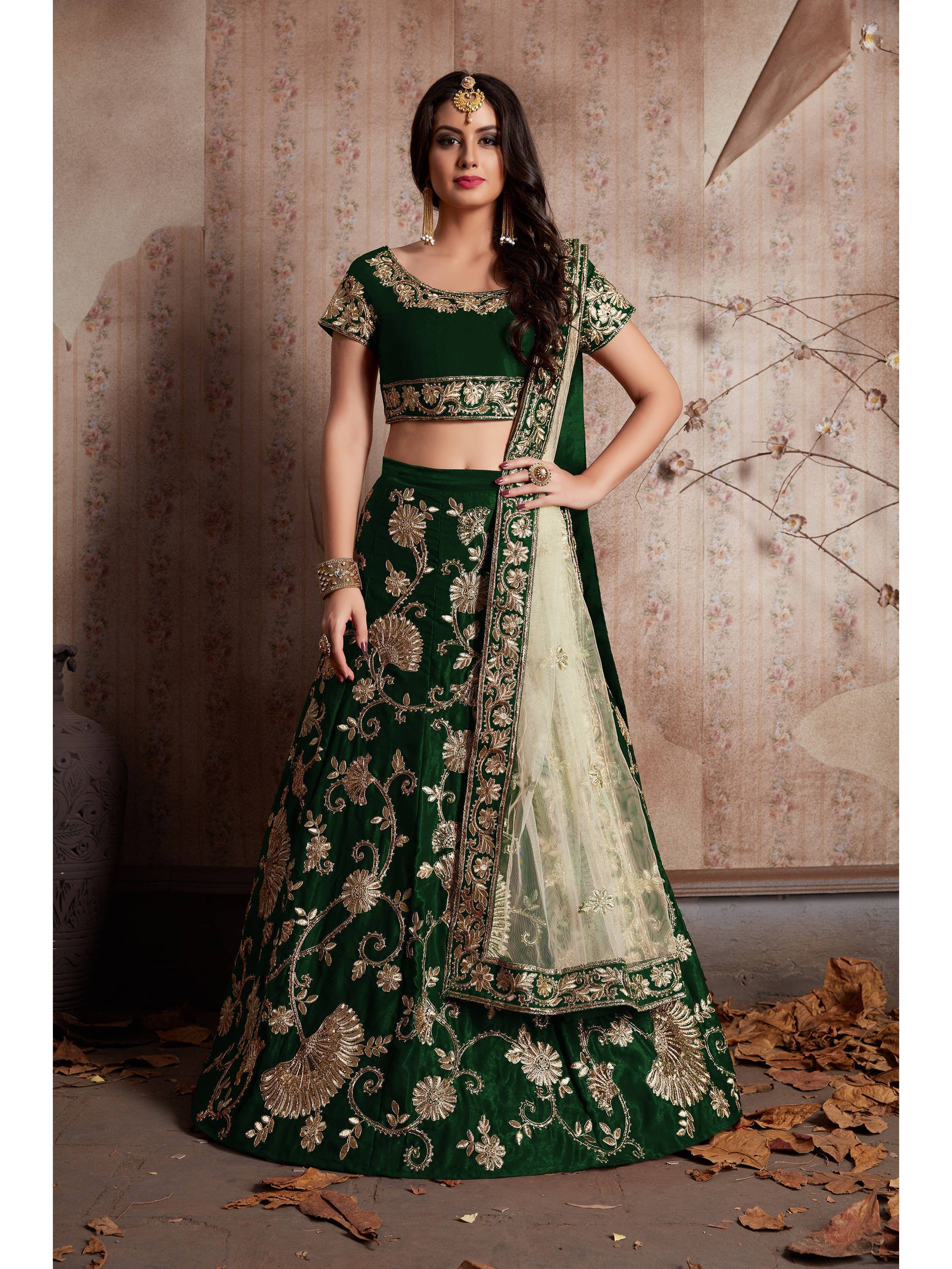 Buy Bottle Green Embroidered Velvet Bridal Lehenga Choli With Dupatta Online From Ethnicplus For 4 849 00