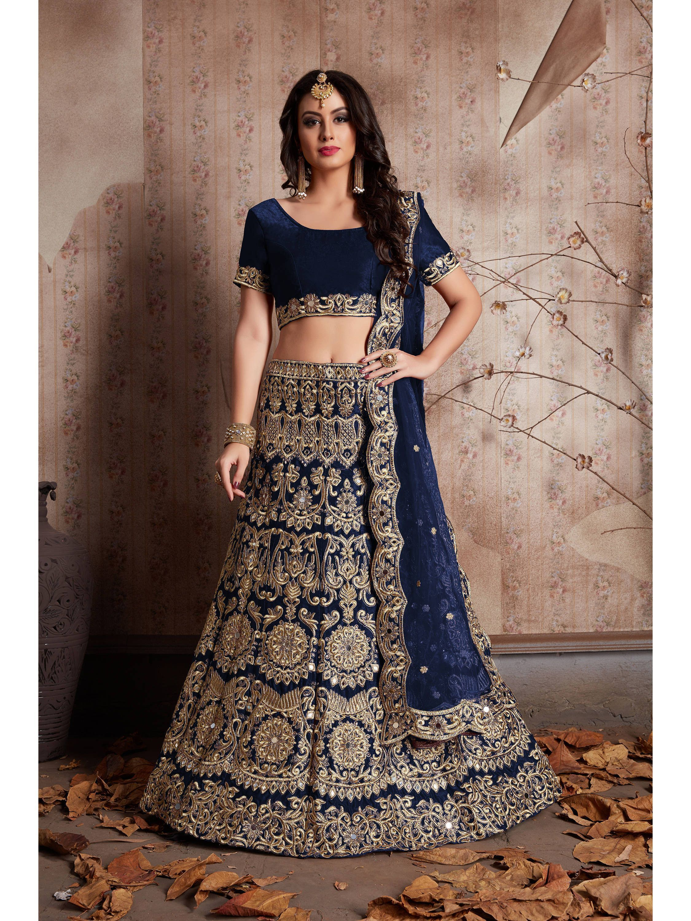 Navy Blue Heavy Embroidered Bridal Lehenga Choli (Default)