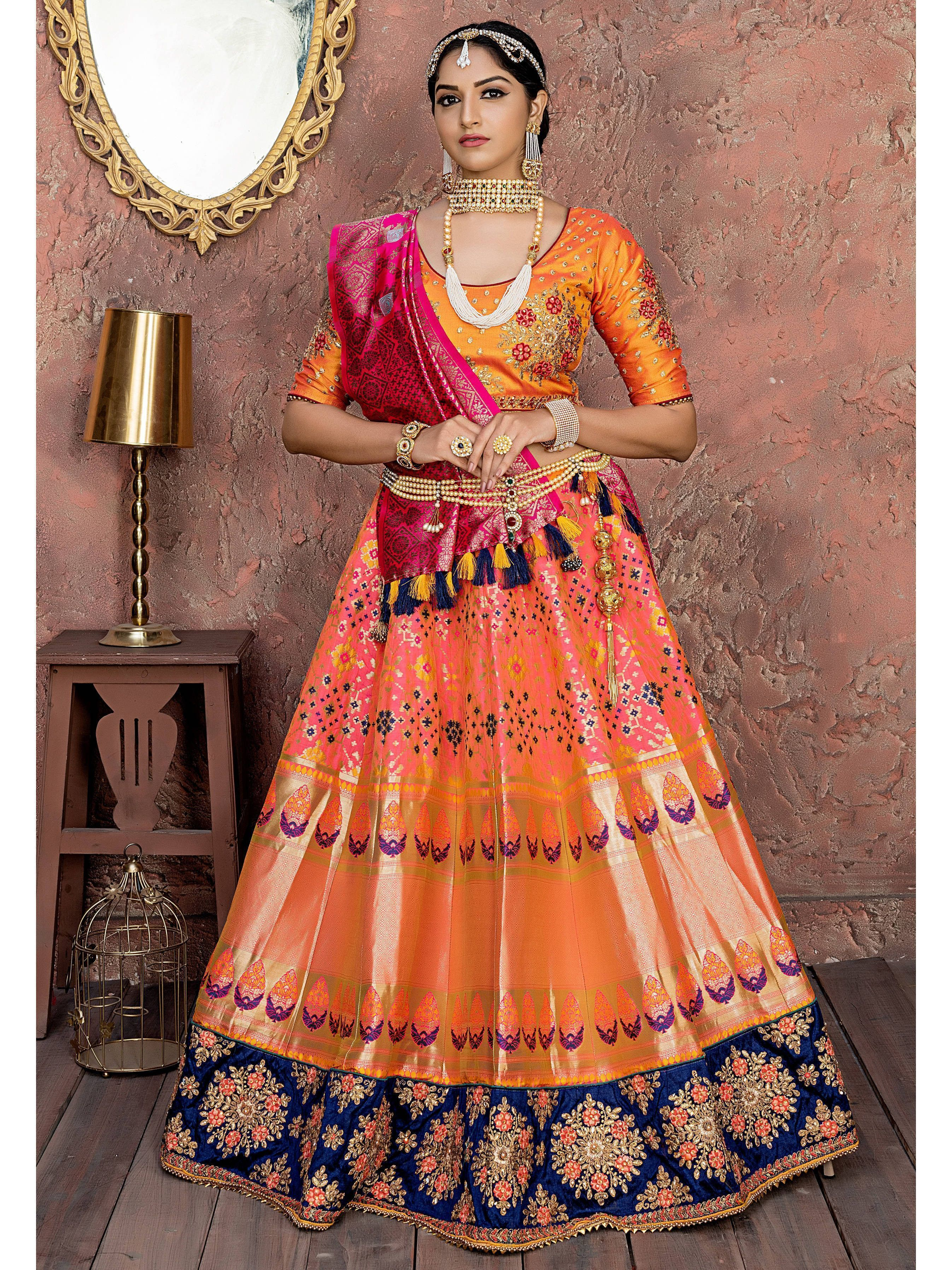 Orange Banarasi Silk Bridal Lehenga Choli