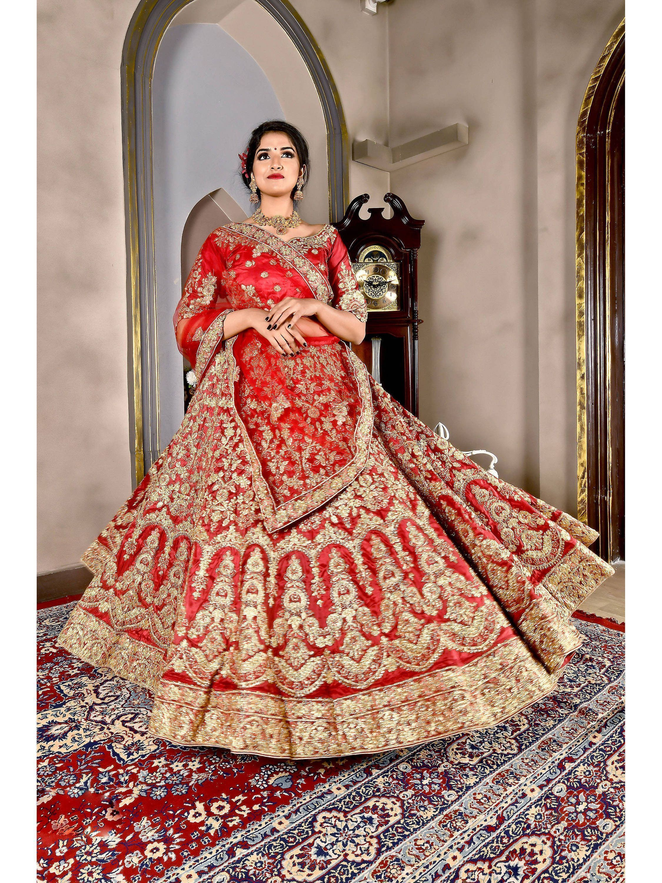 Red Heavy Embroidered Bridal Silk Lehenga Choli