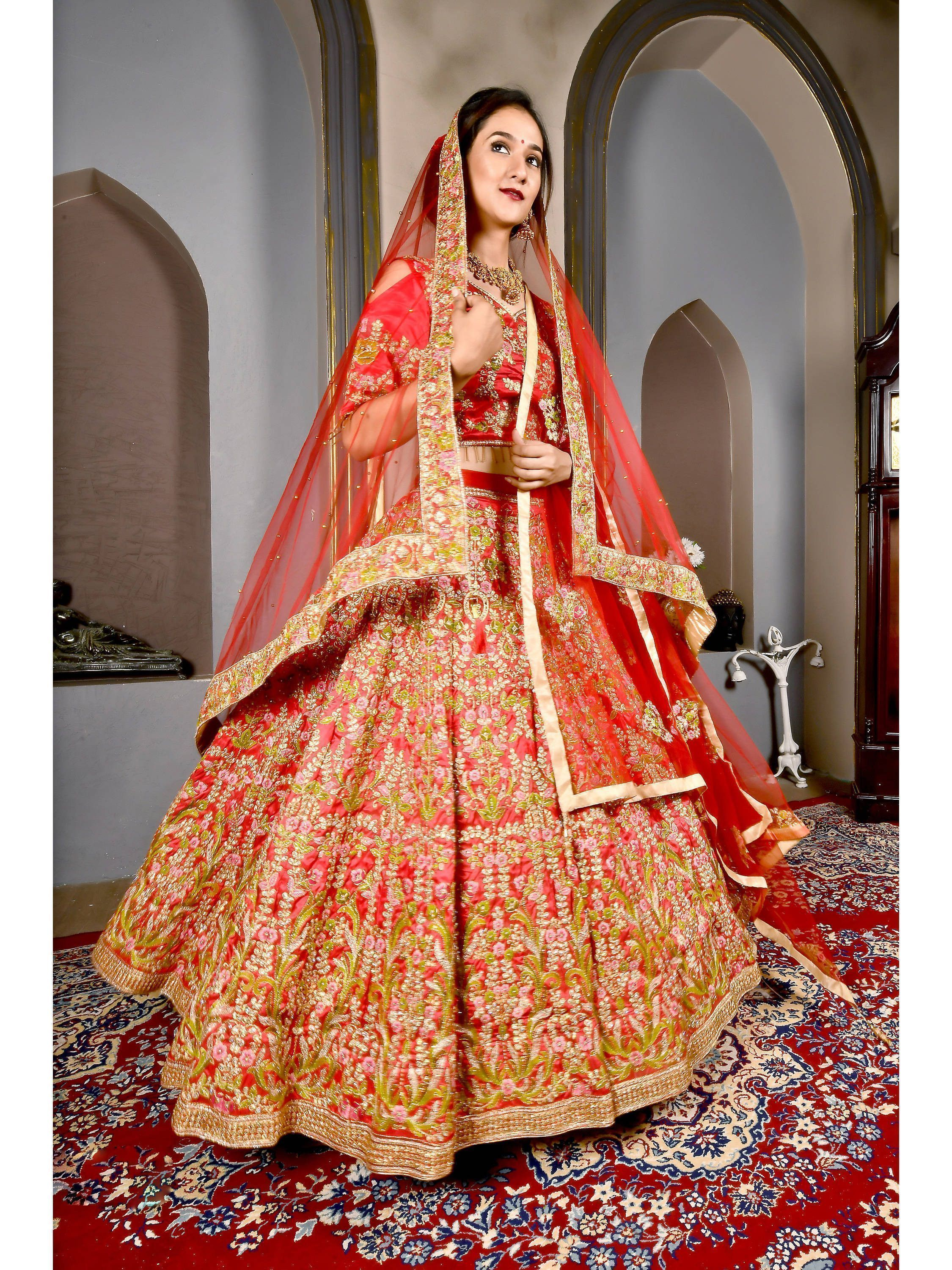 Candy Red Embroidered Bridal Lehenga Choli