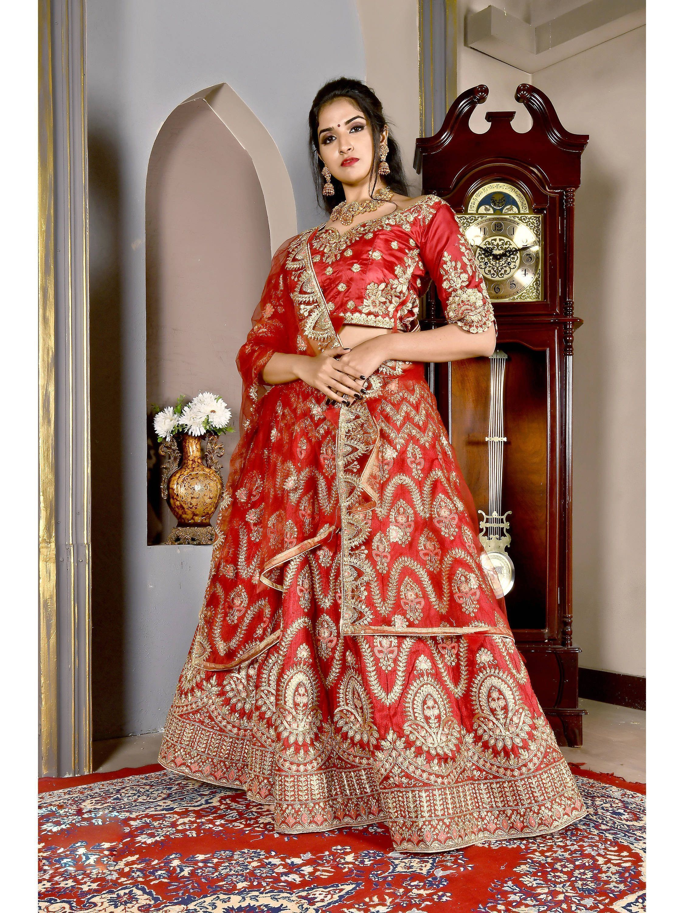 Red Embroidered Silk Bridal Lehenga Choli (Default)