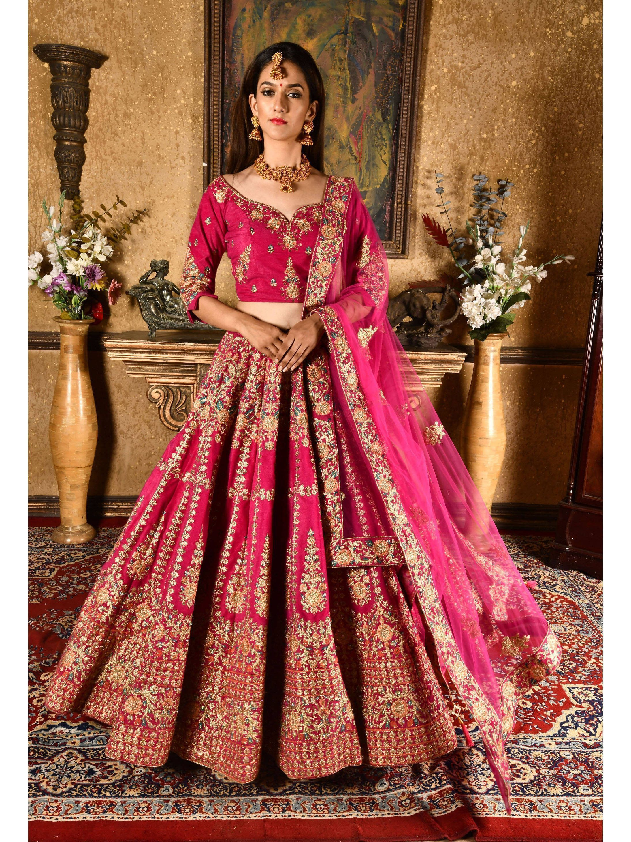 Magenta Pink Embroidered Silk Bridal Lehenga Choli