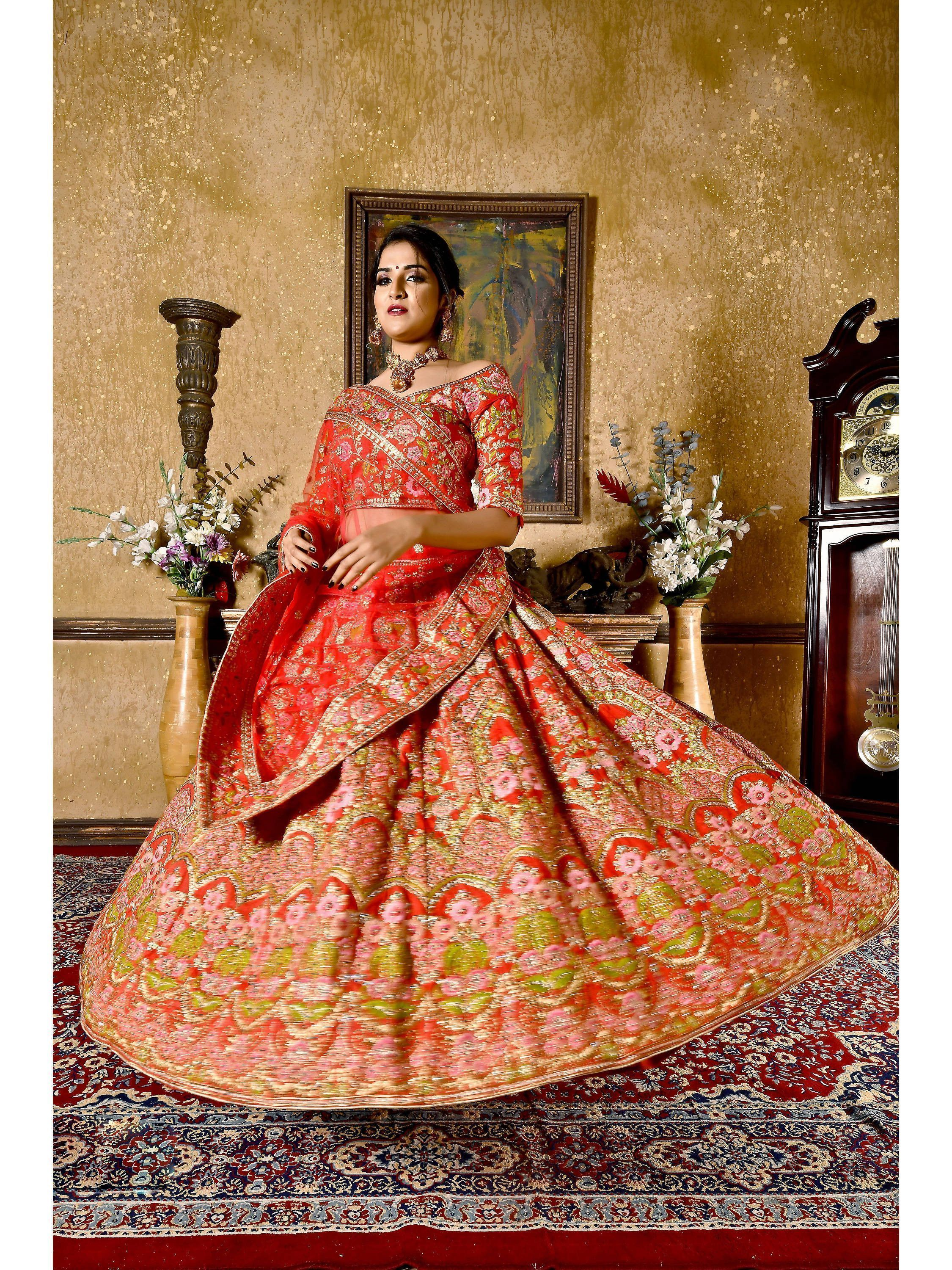 Coral Red Embroidered Silk Bridal Lehenga Choli