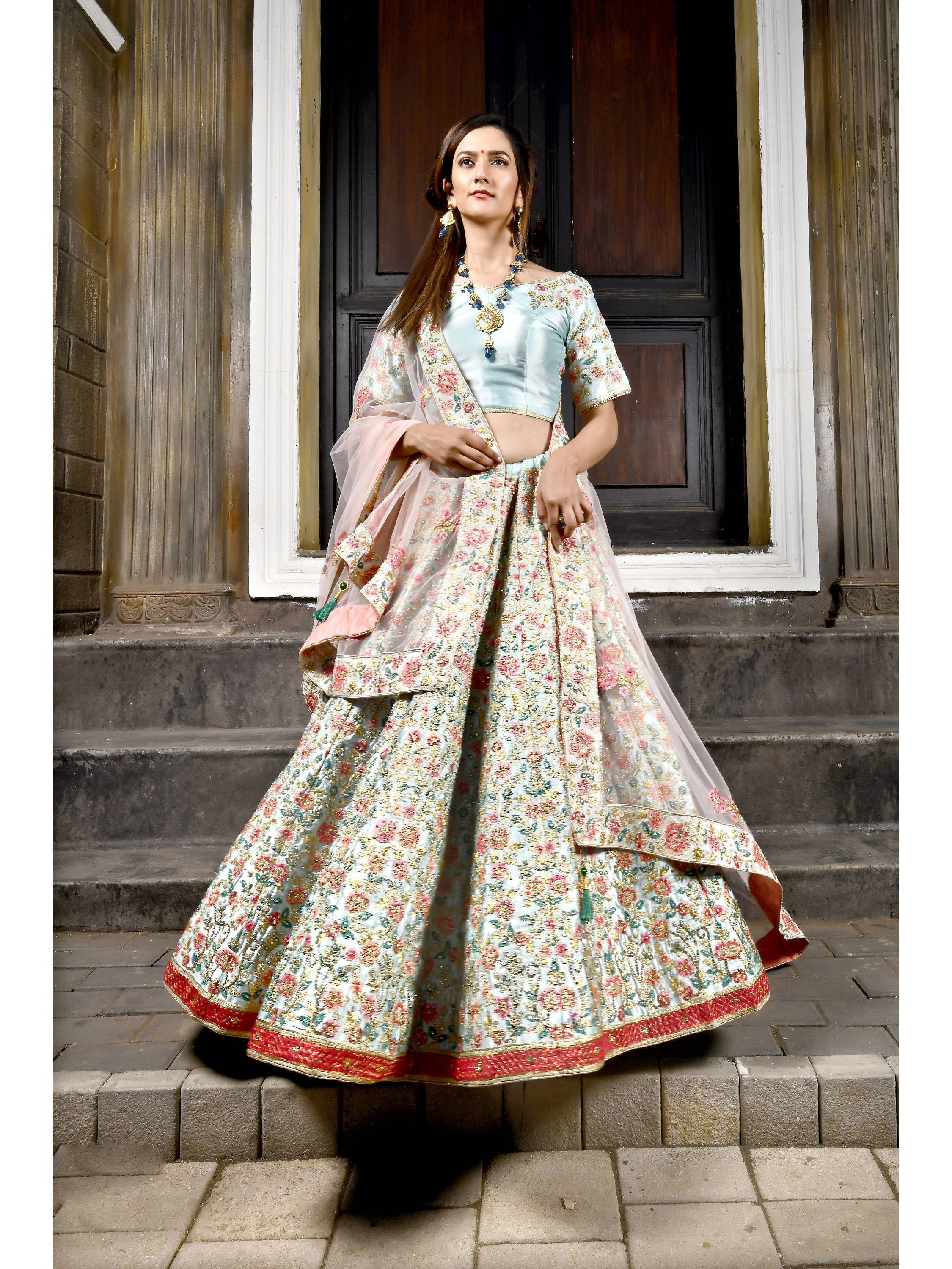 Pastel Blue Embroidered Satin Bridal Lehenga Choli
