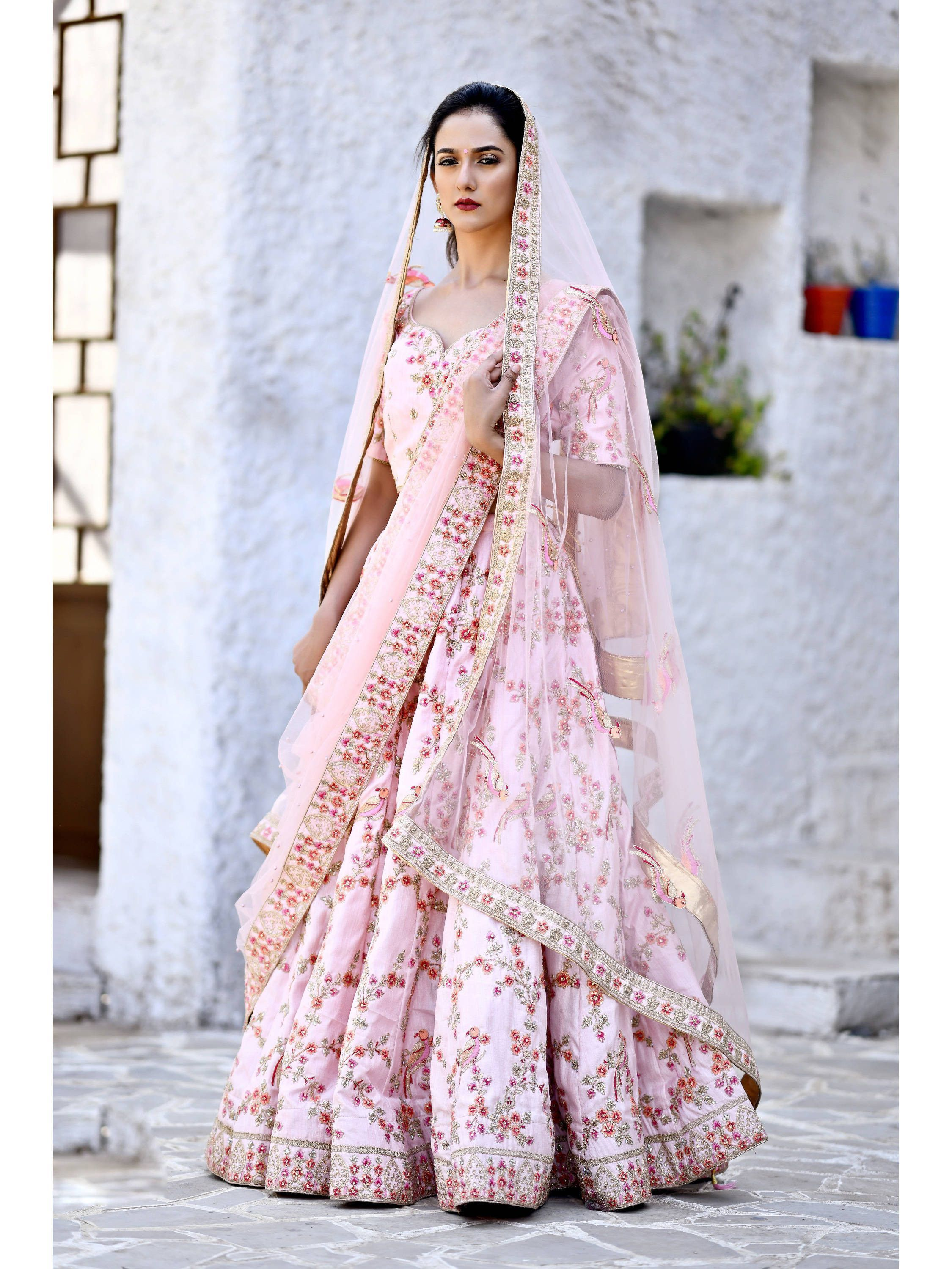 Pastel Pink Embroidered Satin Bridal Lehenga Choli (Default)