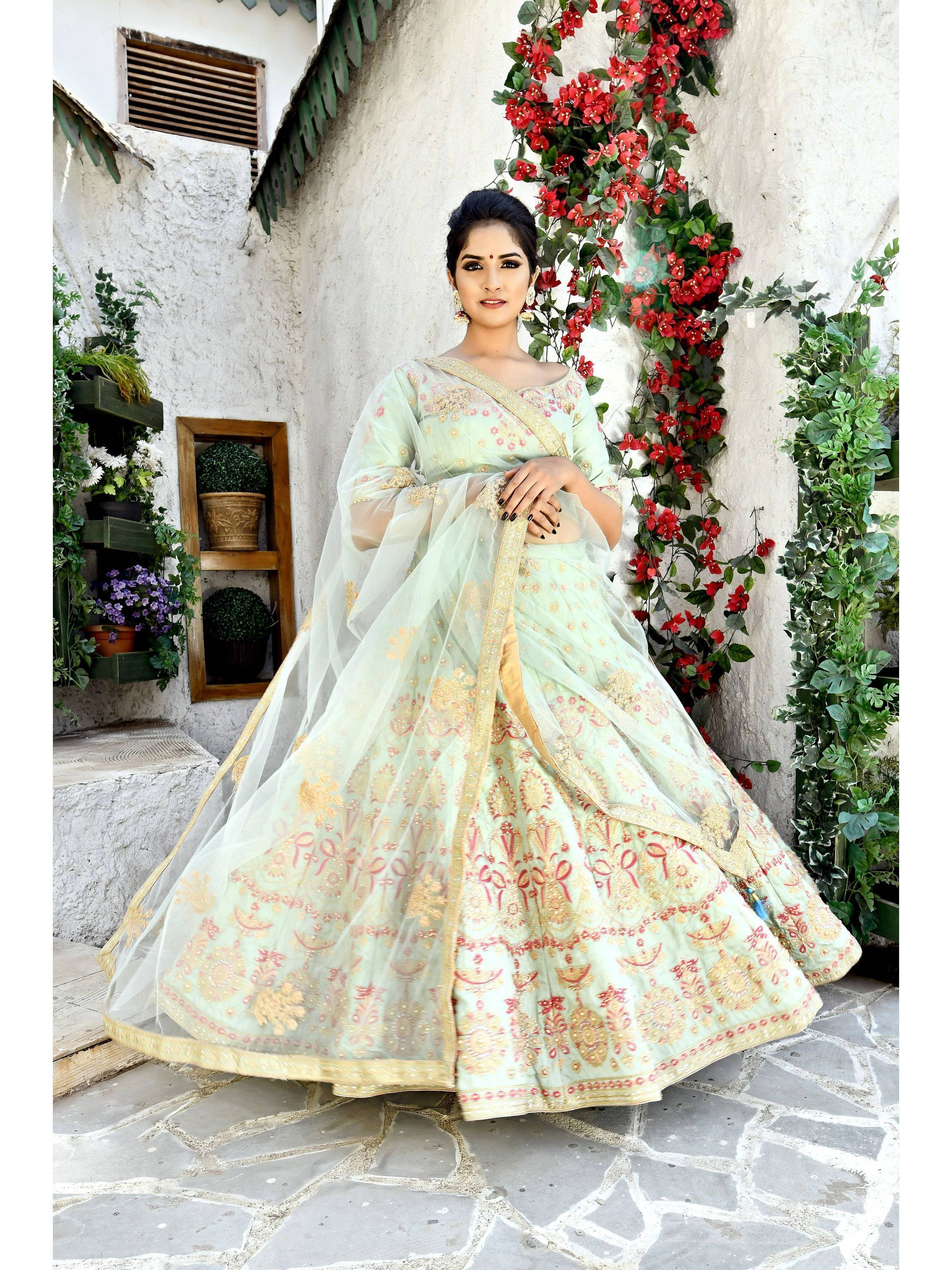 Pastel Green Embroidered Silk Lehenga Choli (Default)