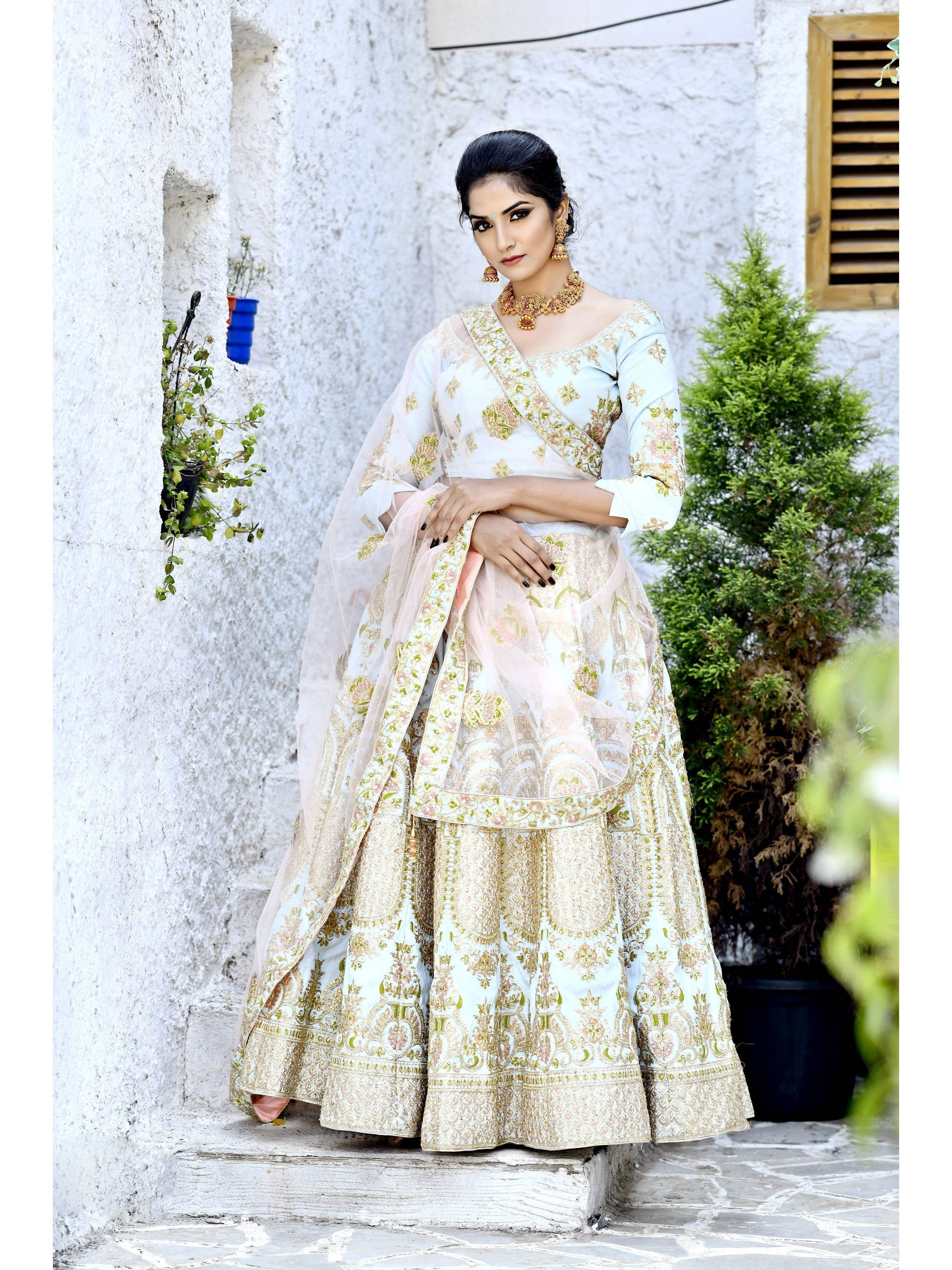 Light Blue Embroidered Silk Bridal Lehenga Choli (Default)