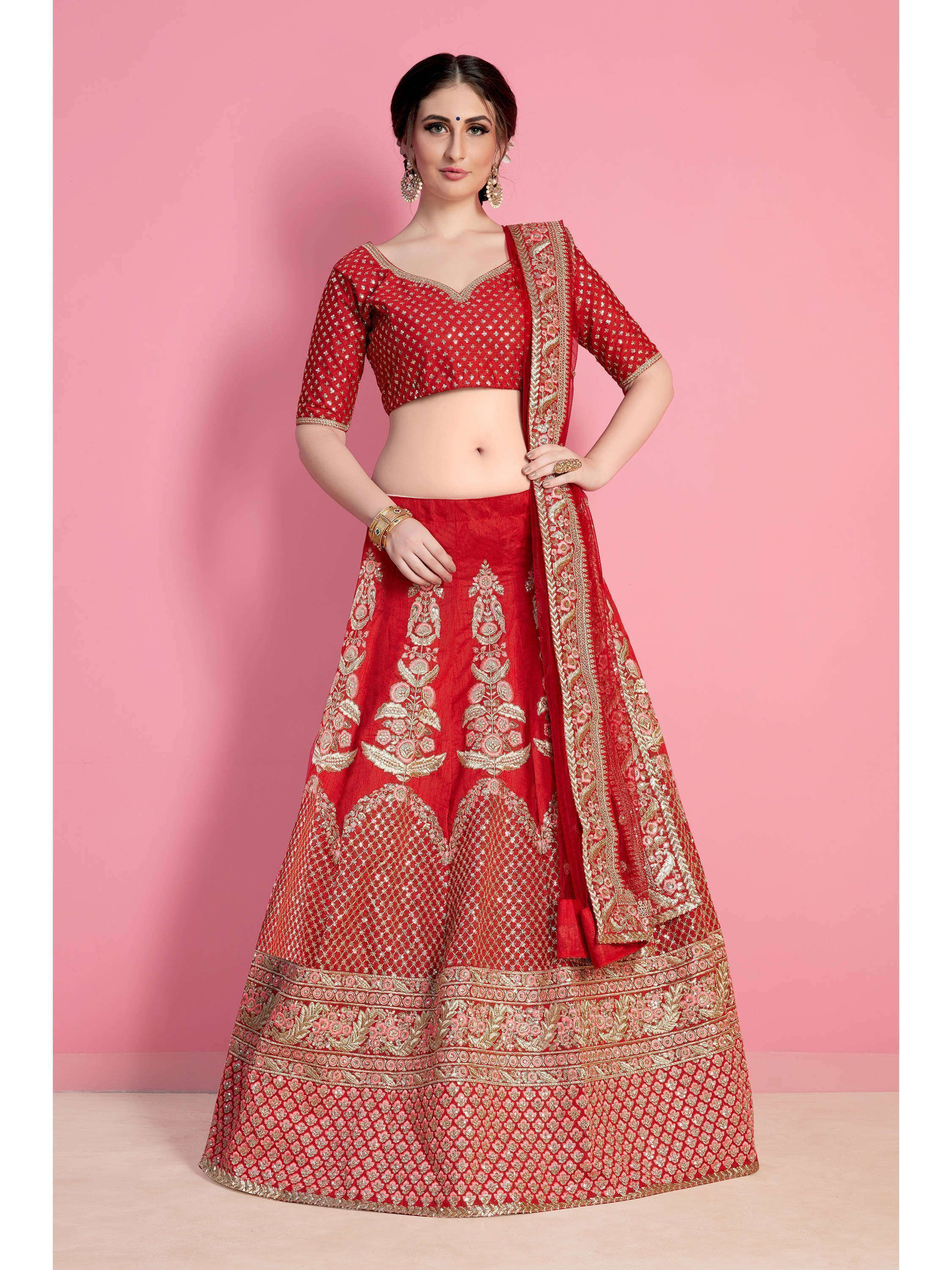 Coral Red Embroidered Art Silk Bridal Lehenga Choli