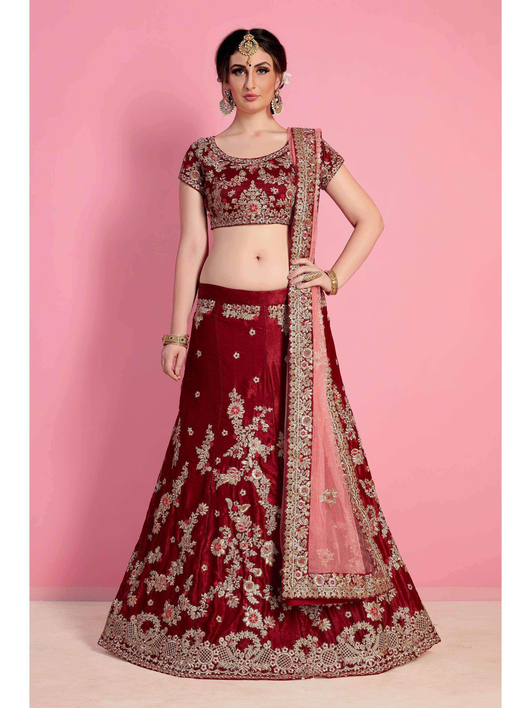Maroon Velvet Embroidered Bridal Lehenga Choli (Default)