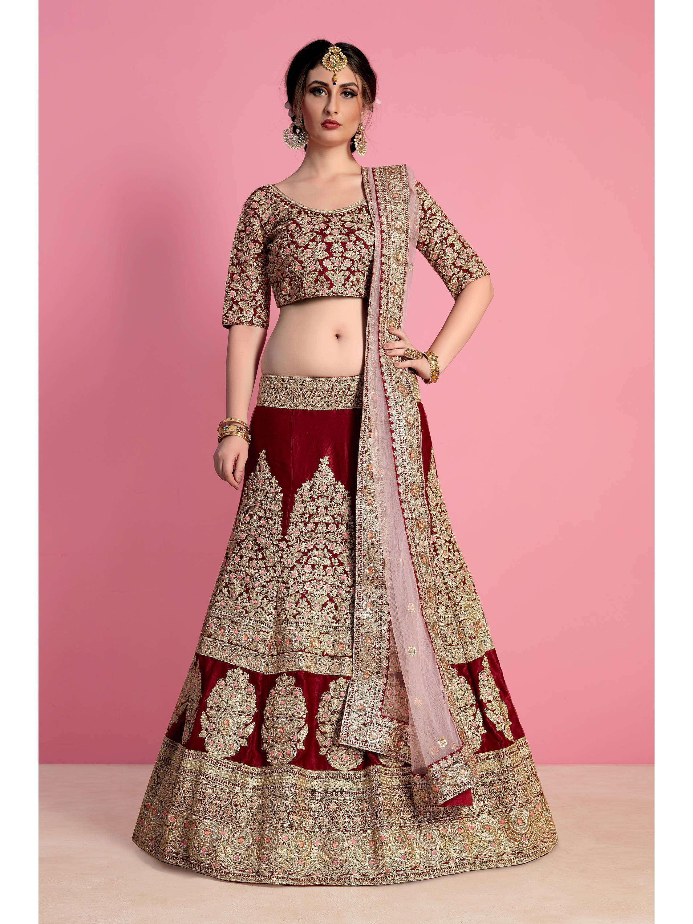 Maroon Embroidered Velvet Bridal Lehenga Choli (Default)