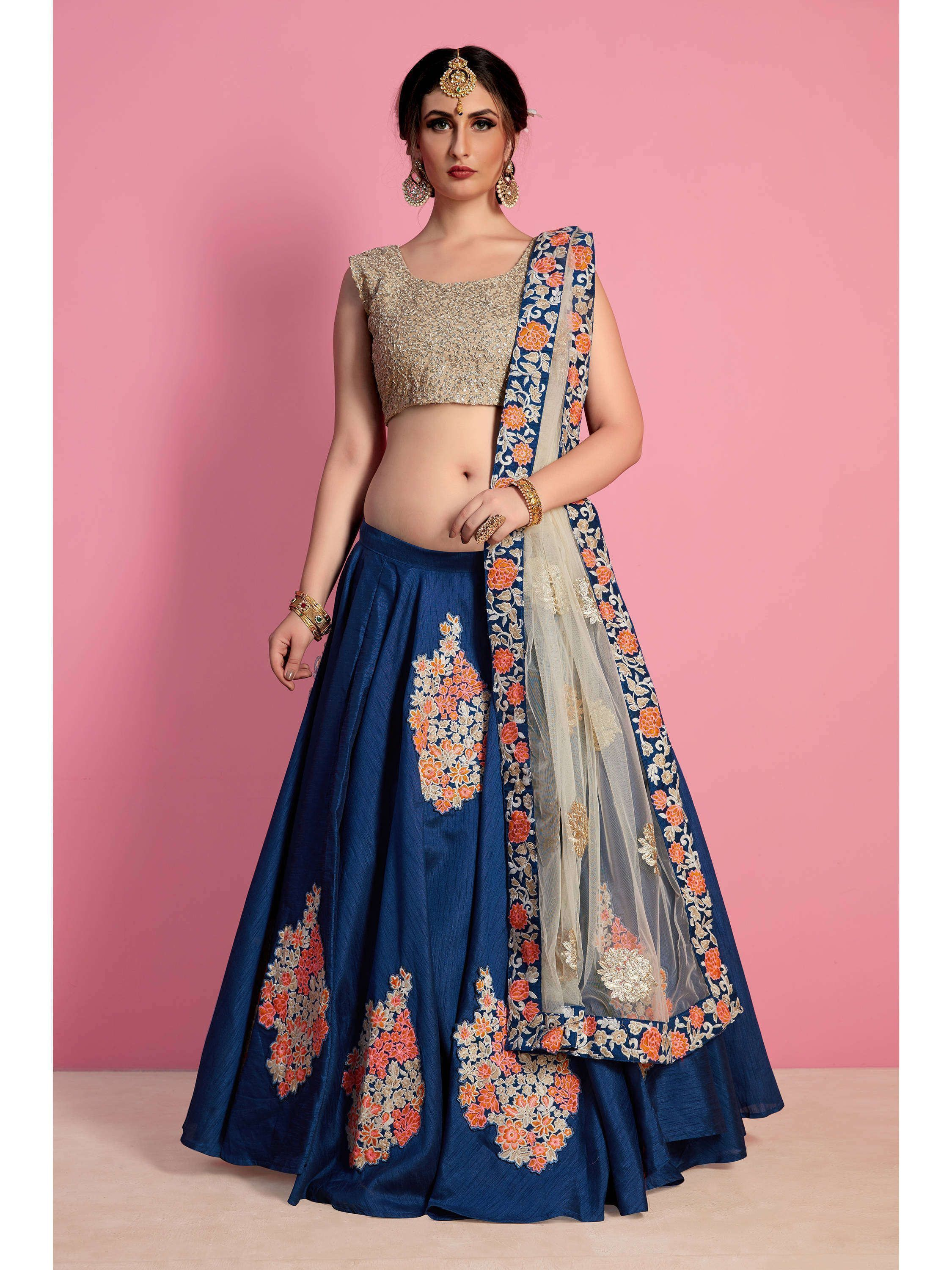 Blue Embroidered Art Silk Lehenga Choli (Default)