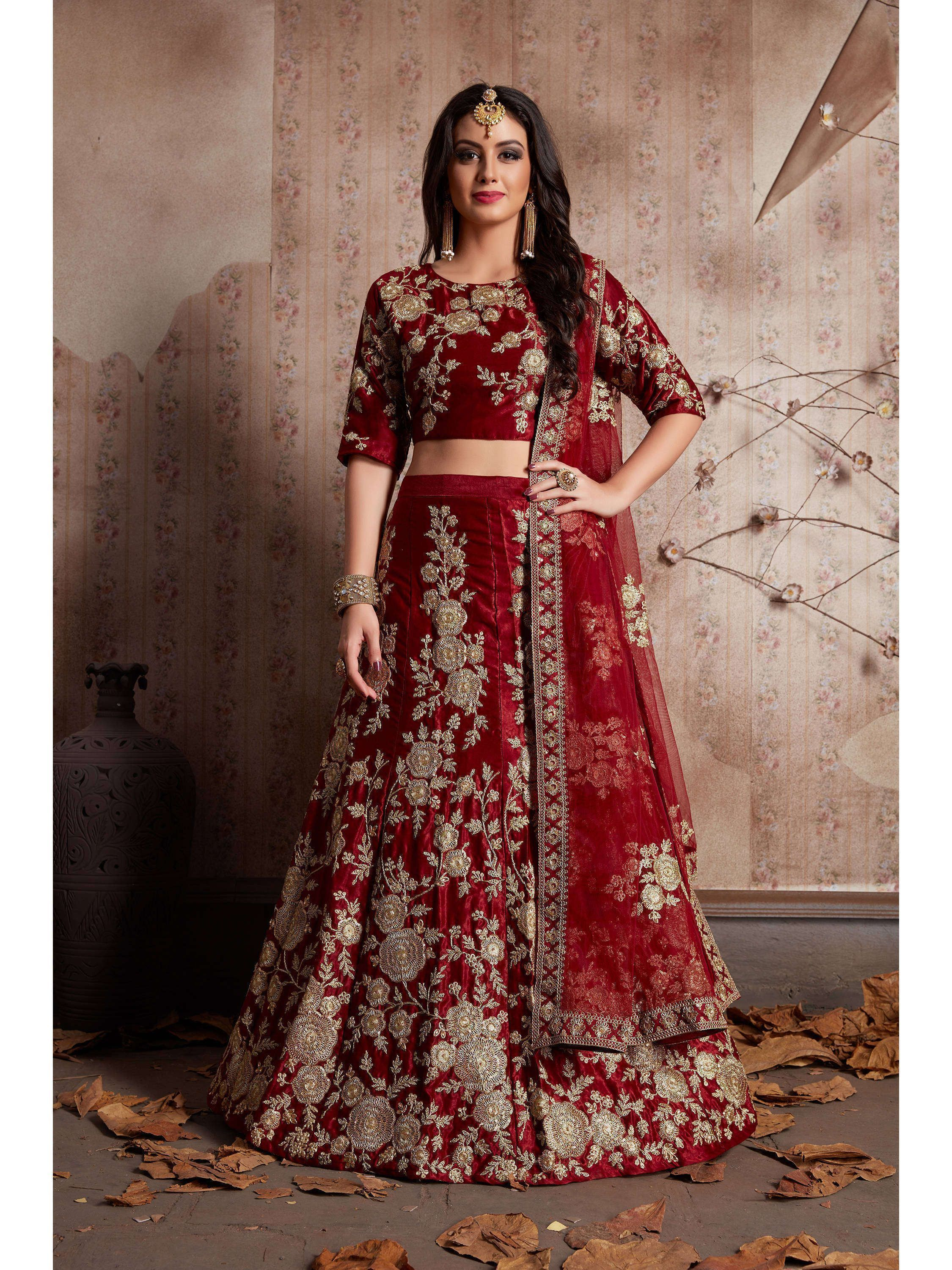 Maroon Embroidered Velvet Bridal Lehenga Choli