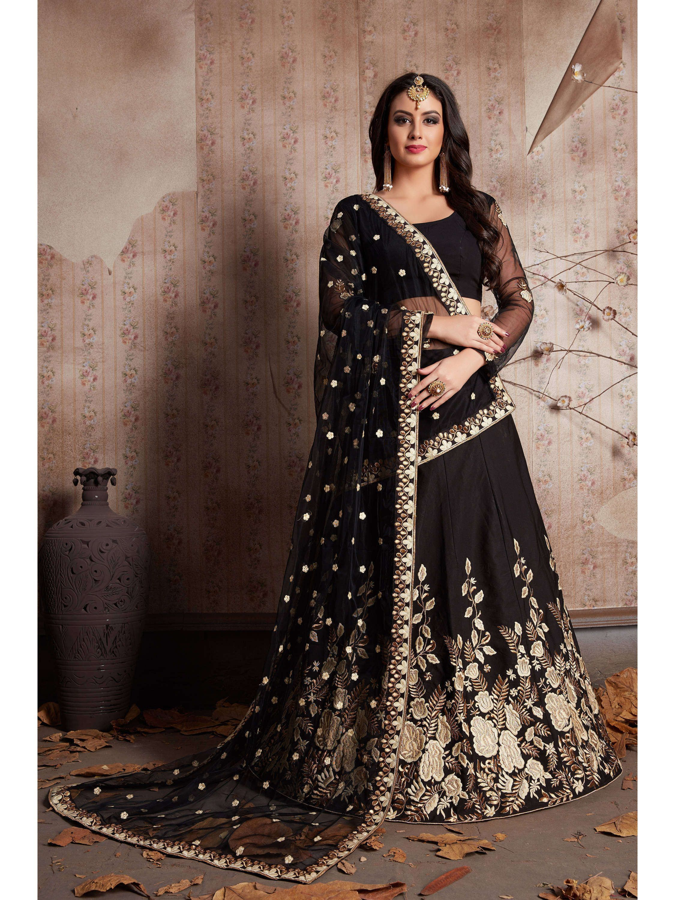 Black Embroidered Crape Silk Lehenga Choli