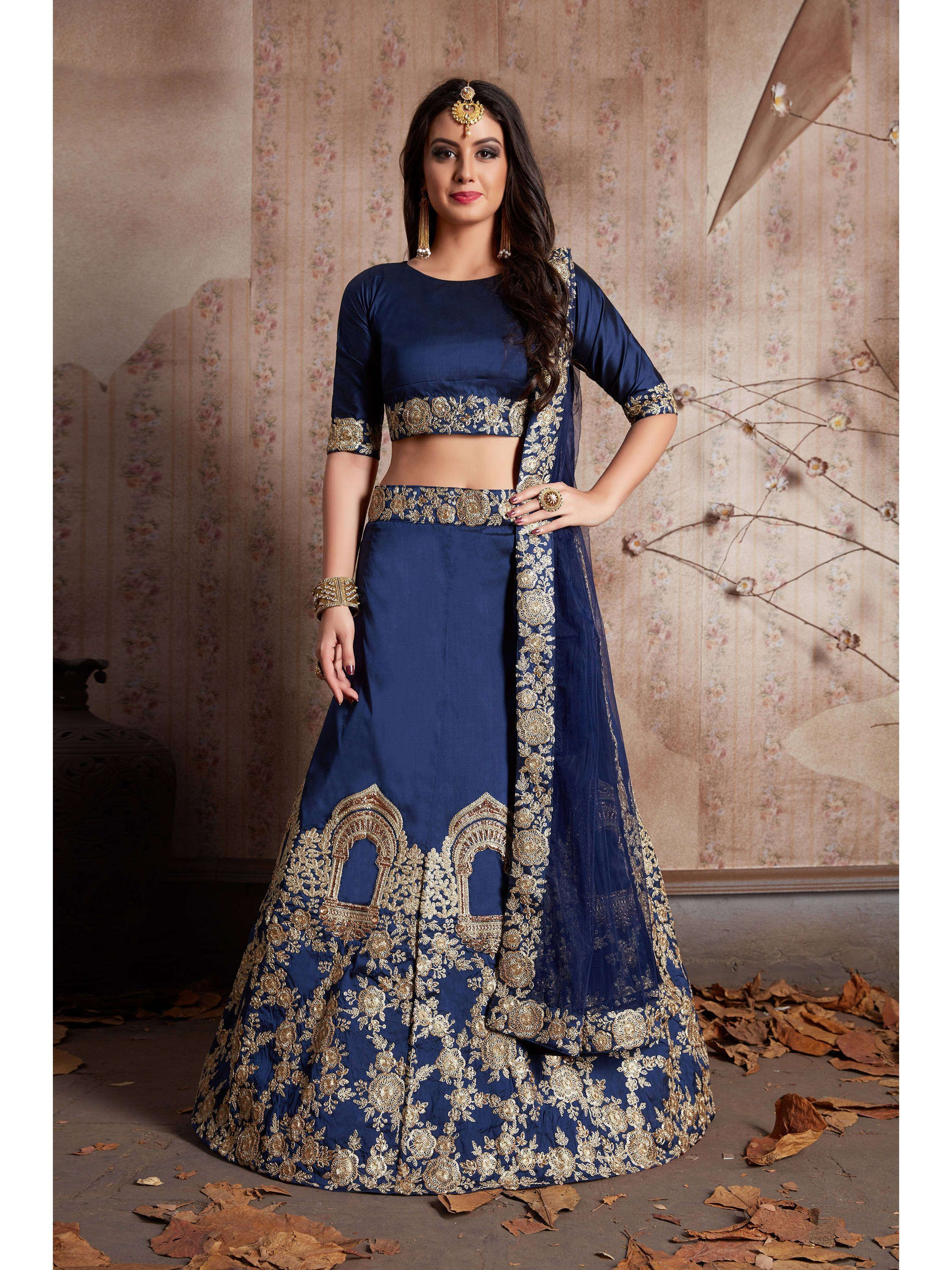 Navy Blue Embroidered Taffeta Lehenga Choli