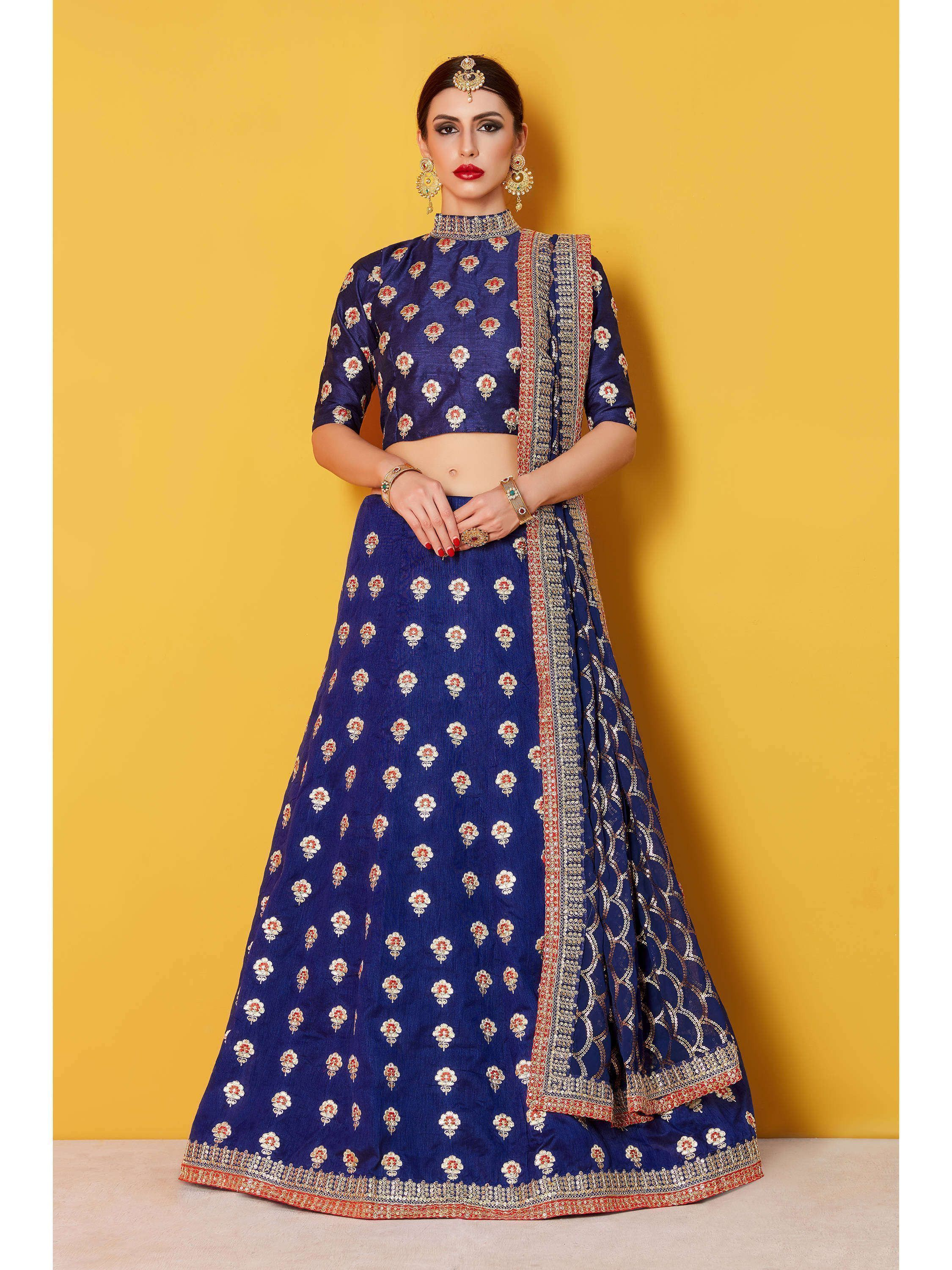 Navy Blue Embroidered Art Silk Lehenga Choli