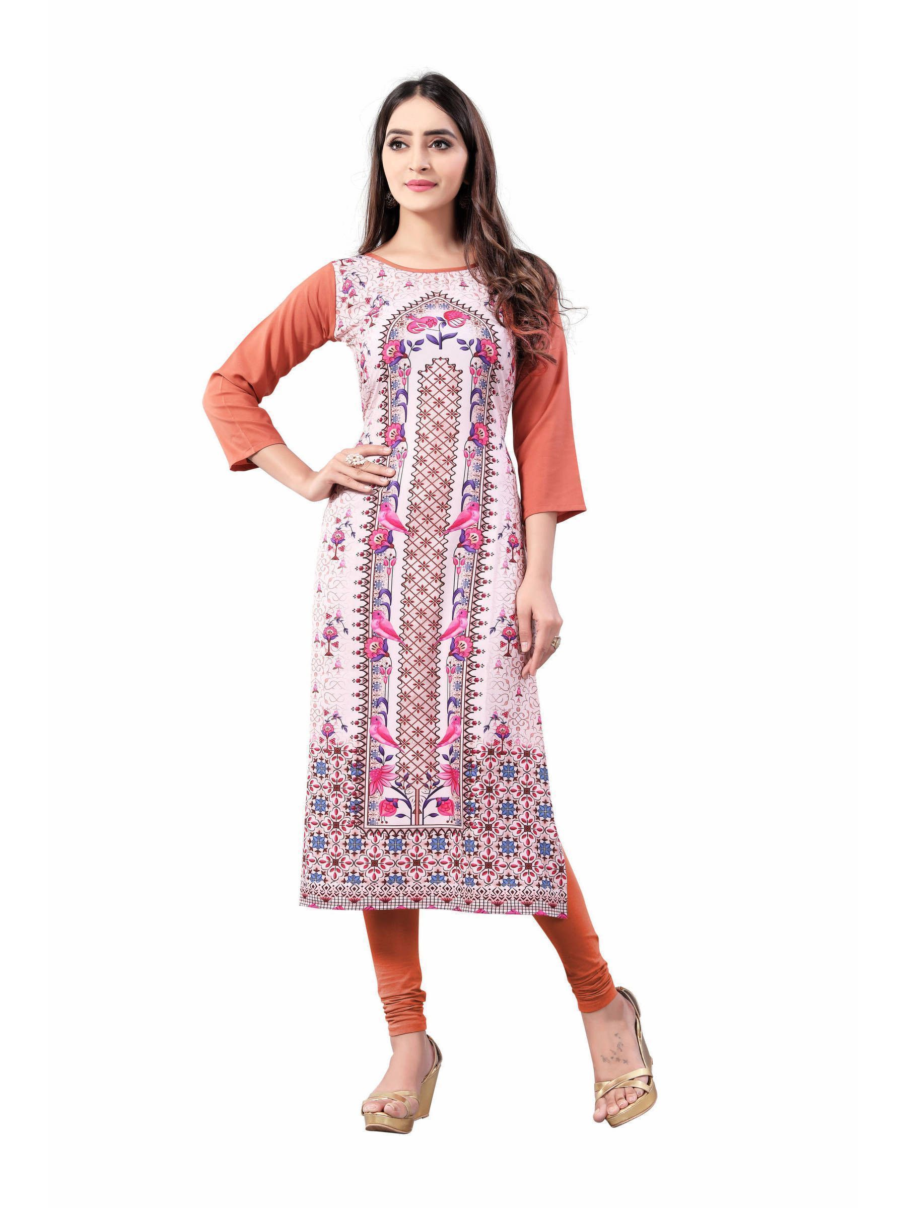 Pink-Peach Digital Floral Printed Readymade Kurti