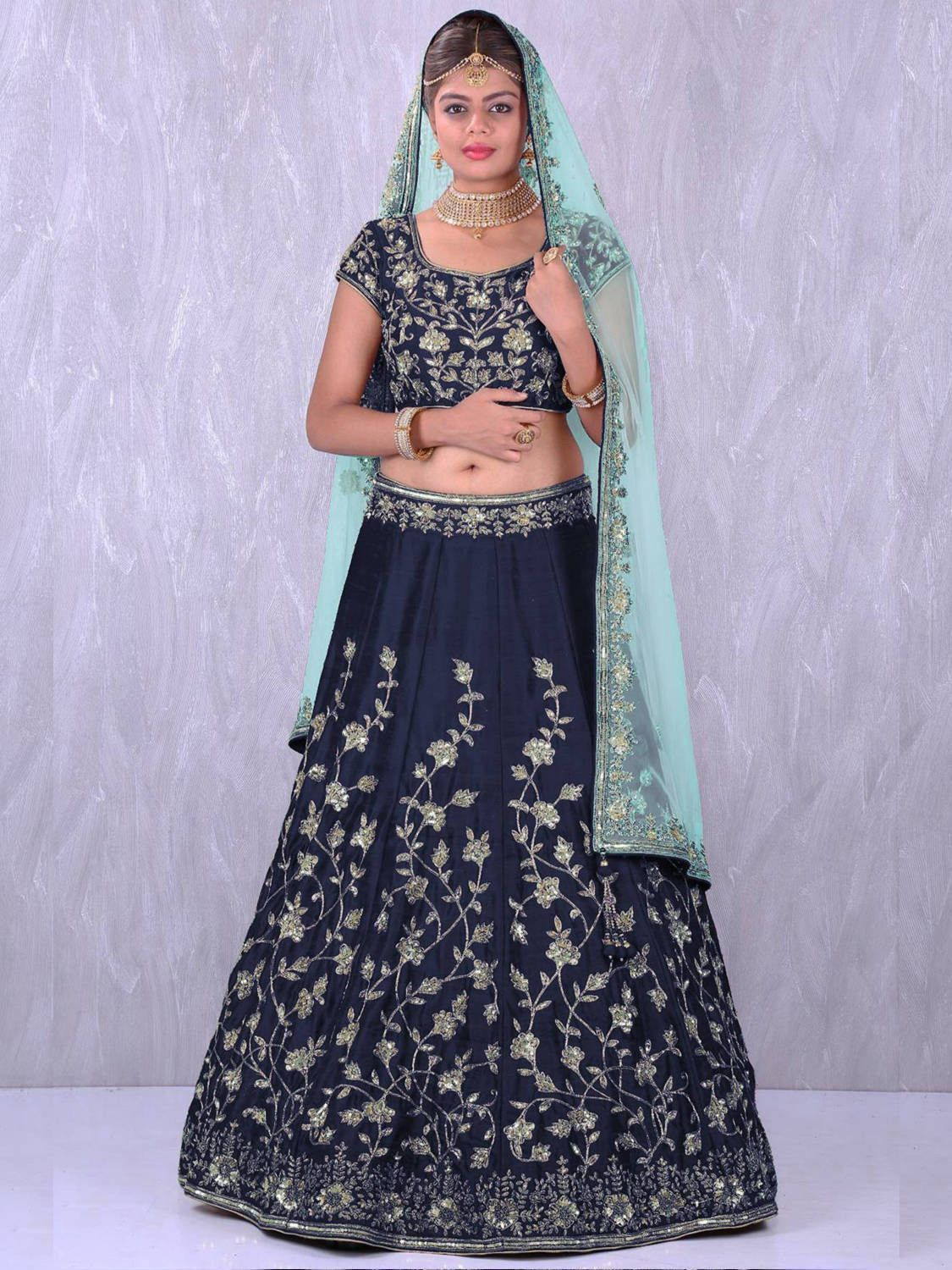 Navy Blue Banglory Silk Lehenga Choli with Applique Embroidery work